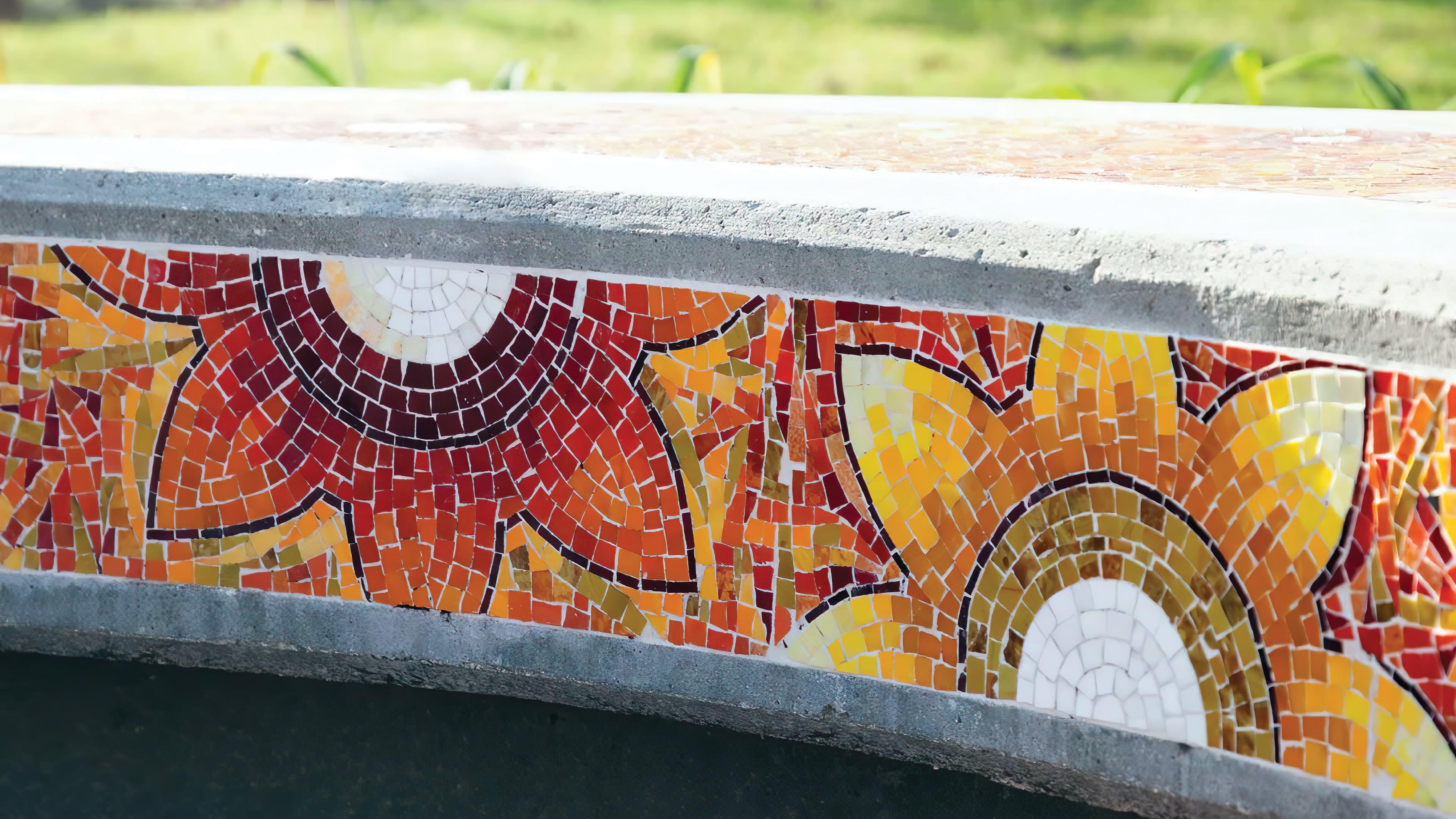 Santa Ana College public art program colored tile mosaic depicting flowers