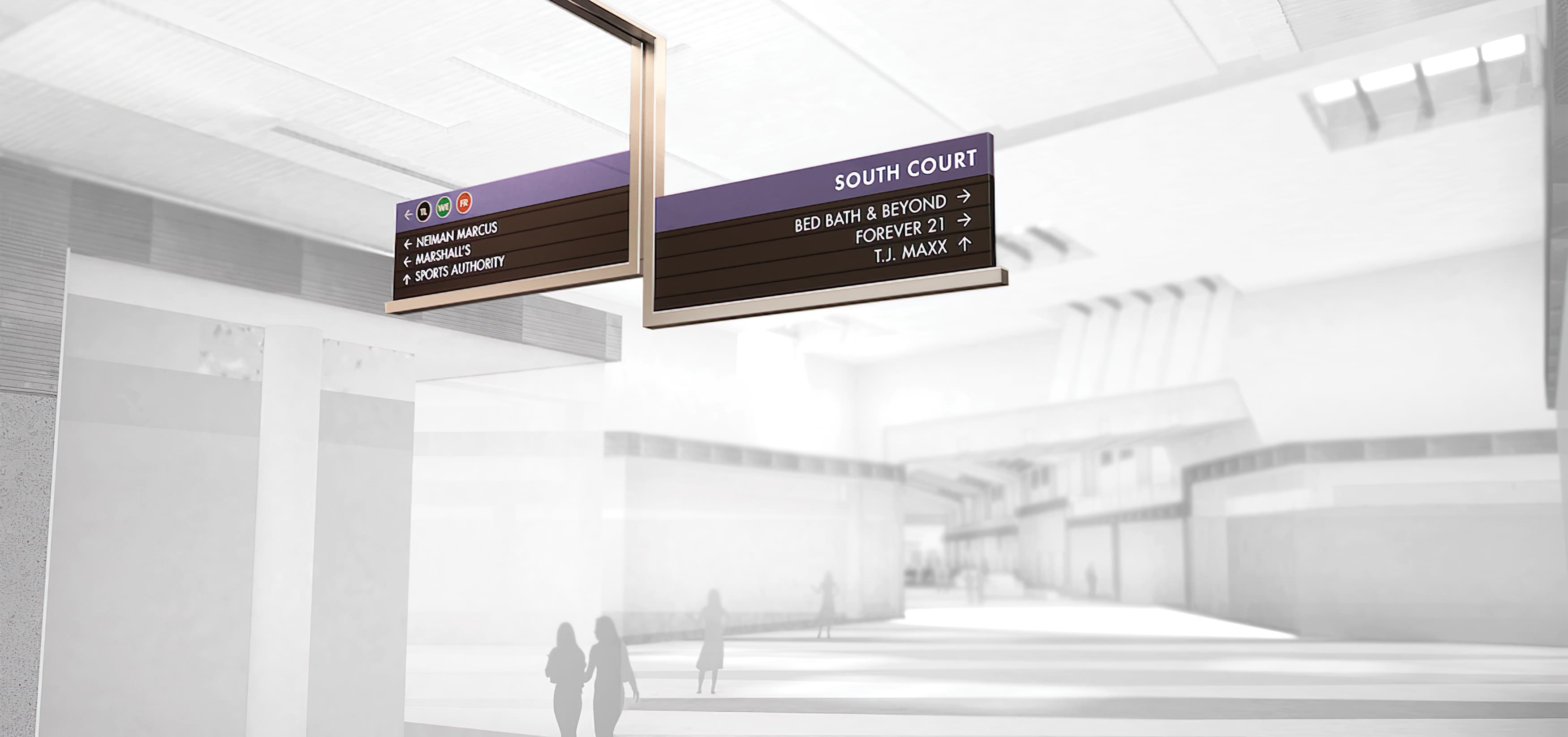 RSM Design worked to develop wayfinding signage, environmental graphics, and placemaking elements for Sawgrass Mills, a Simon Center located in Sunrise, Florida. Overhead Directional Signage.
