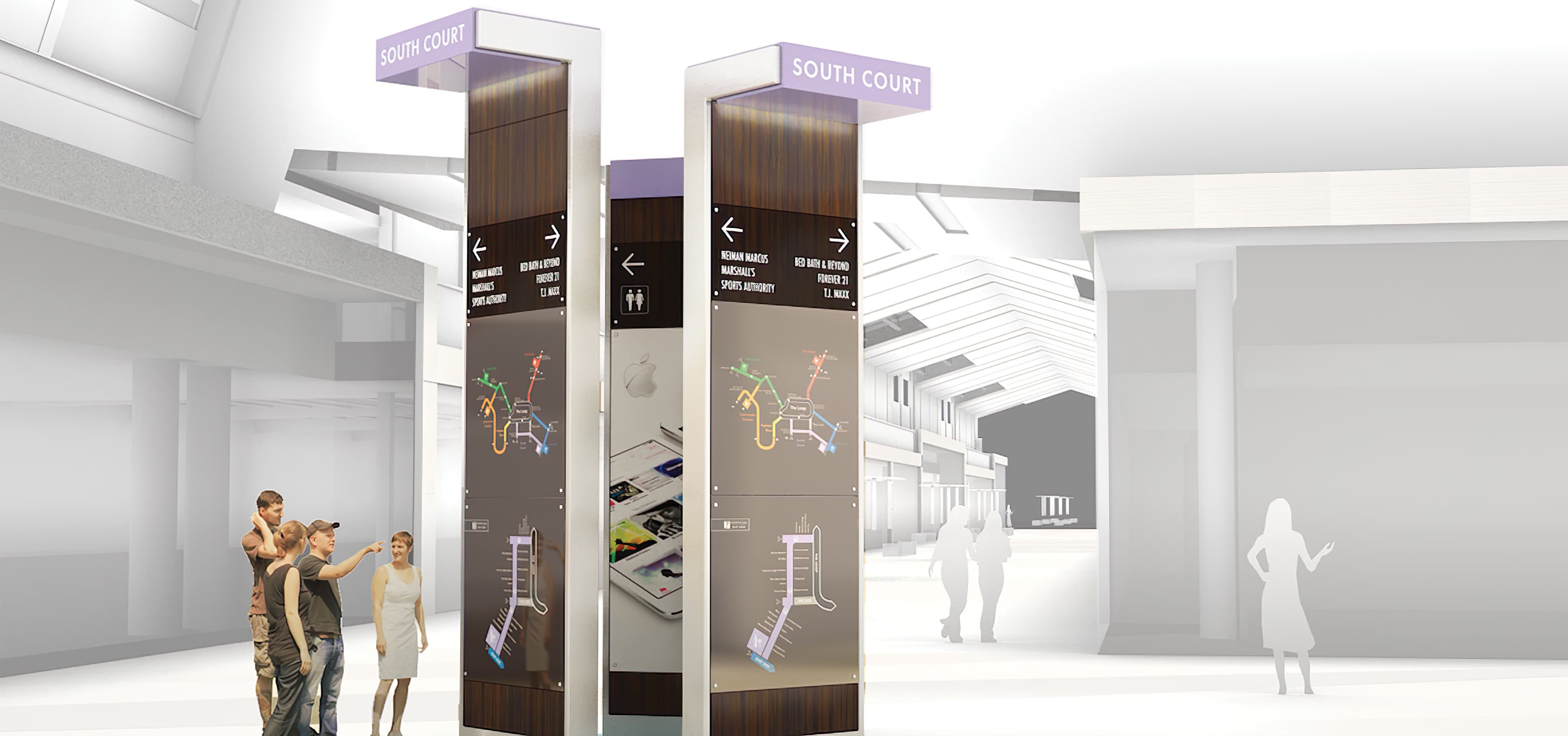 RSM Design worked to develop wayfinding signage, environmental graphics, and placemaking elements for Sawgrass Mills, a Simon Center located in Sunrise, Florida. Pedestrian Directory.