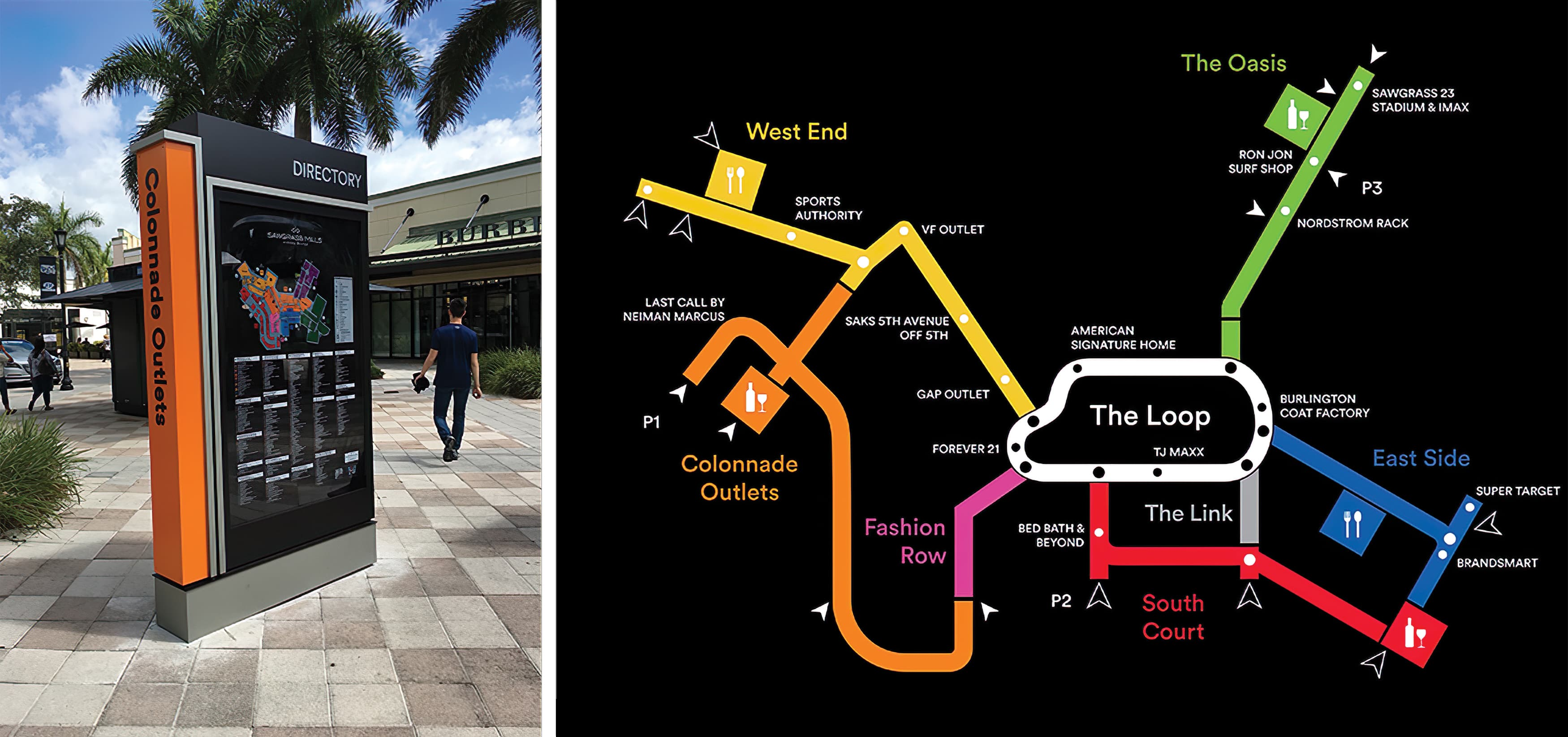 RSM Design worked to develop wayfinding signage, environmental graphics, and placemaking elements for Sawgrass Mills, a Simon Center located in Sunrise, Florida. Retail Directory.
