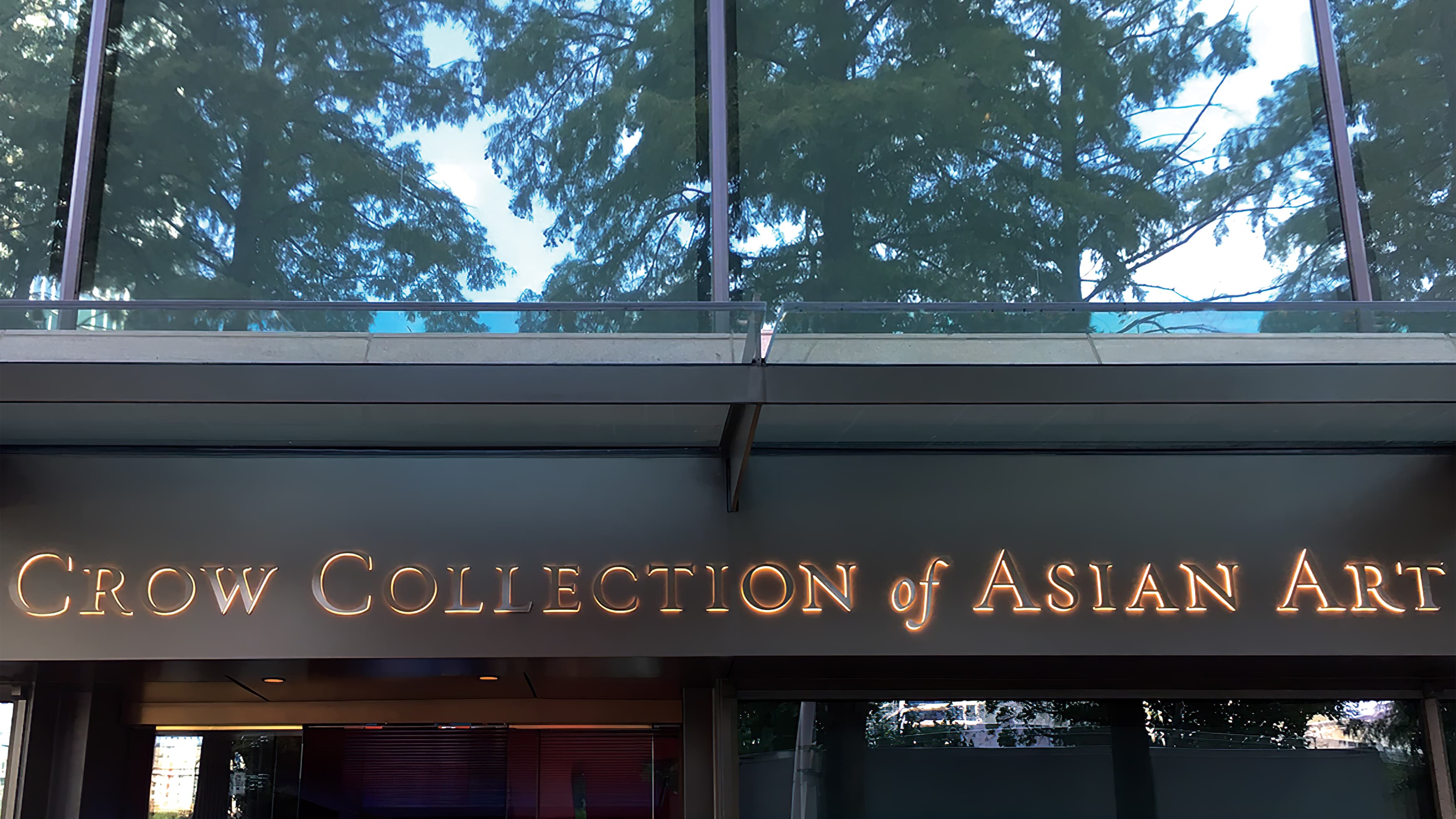 The Crow Collection of Asian Art back-lit identity signage
