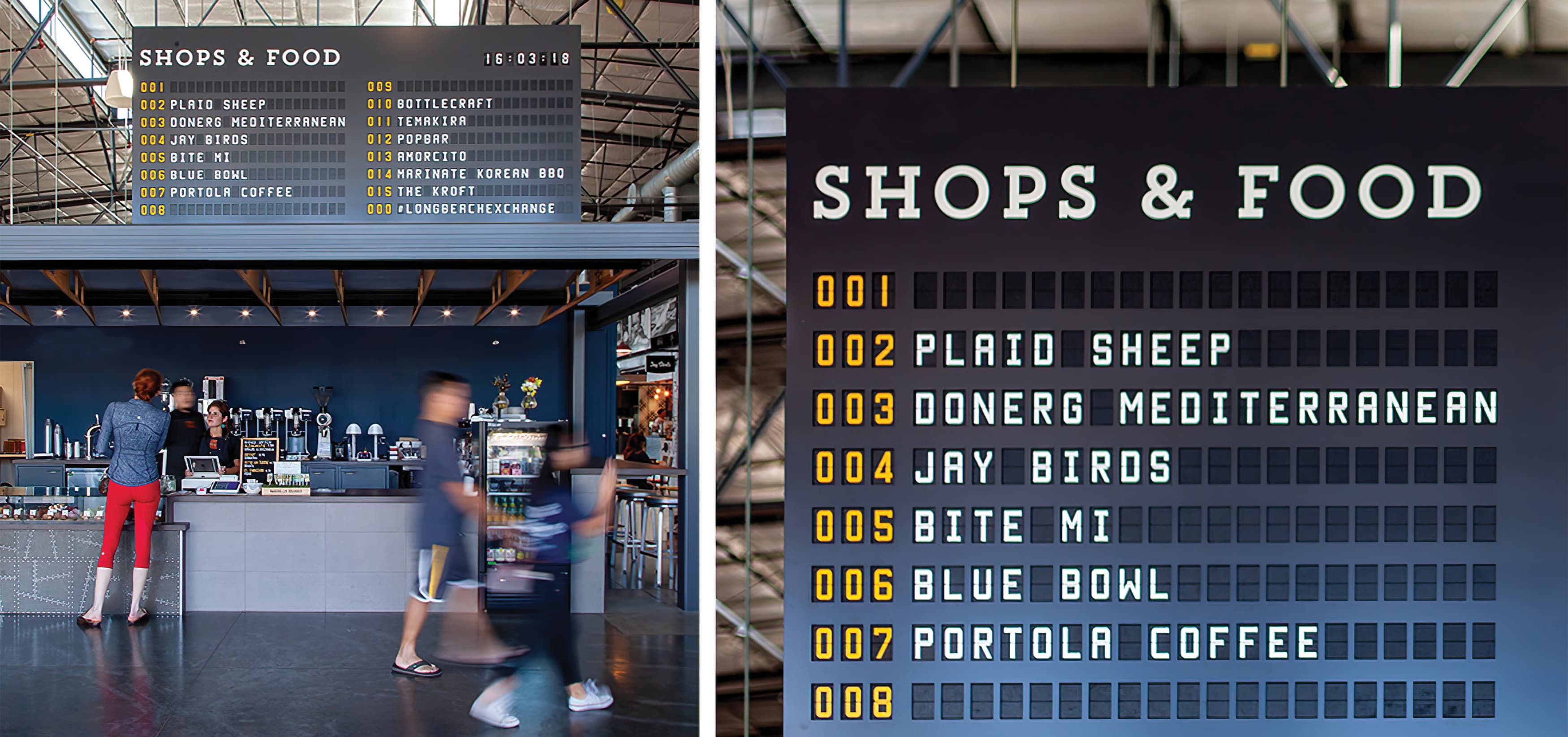 The Hangar, a food hall dining complex at Long Beach Exchange.  Menu Signage.