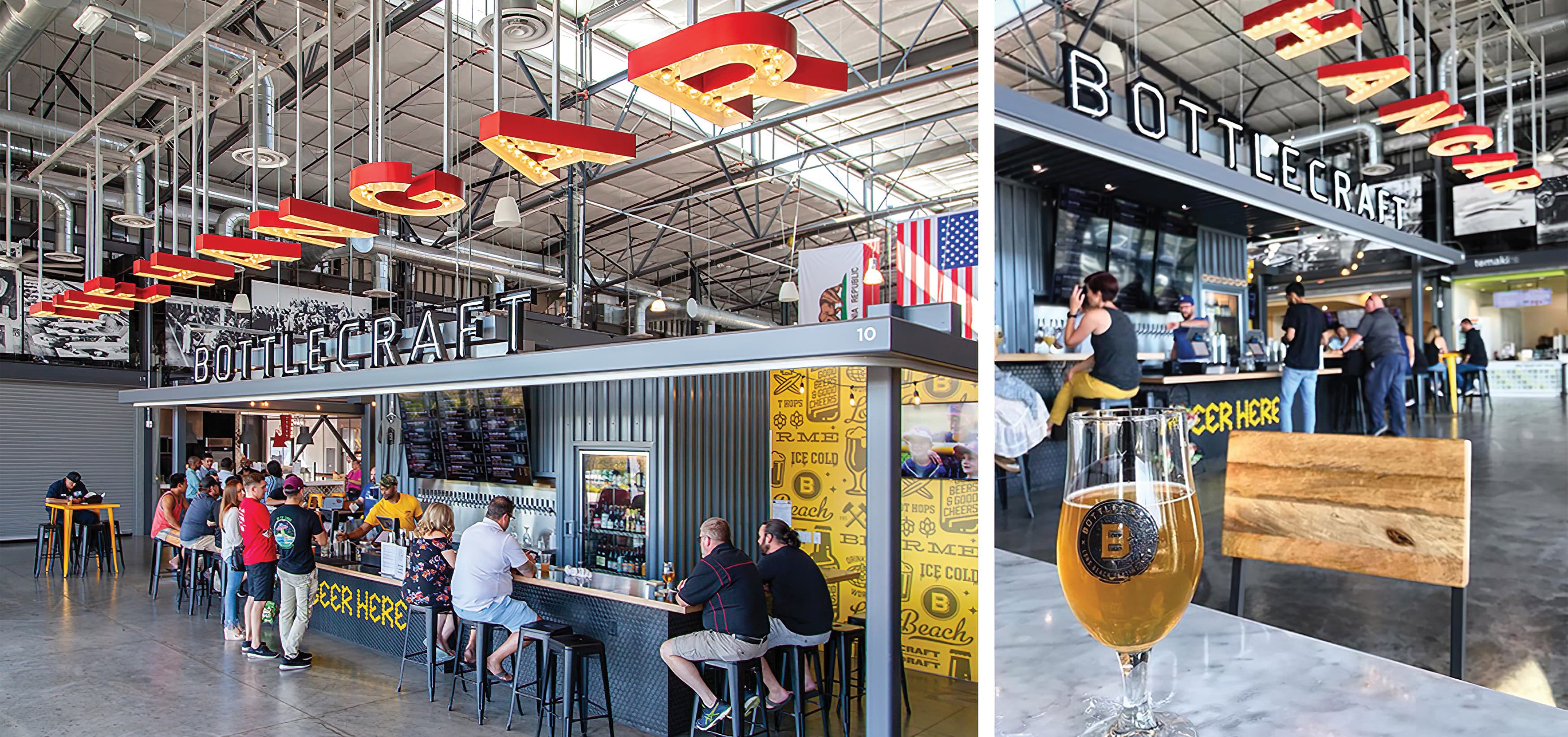 The Hangar, a food hall dining complex at Long Beach Exchange.  Tenant Signage.