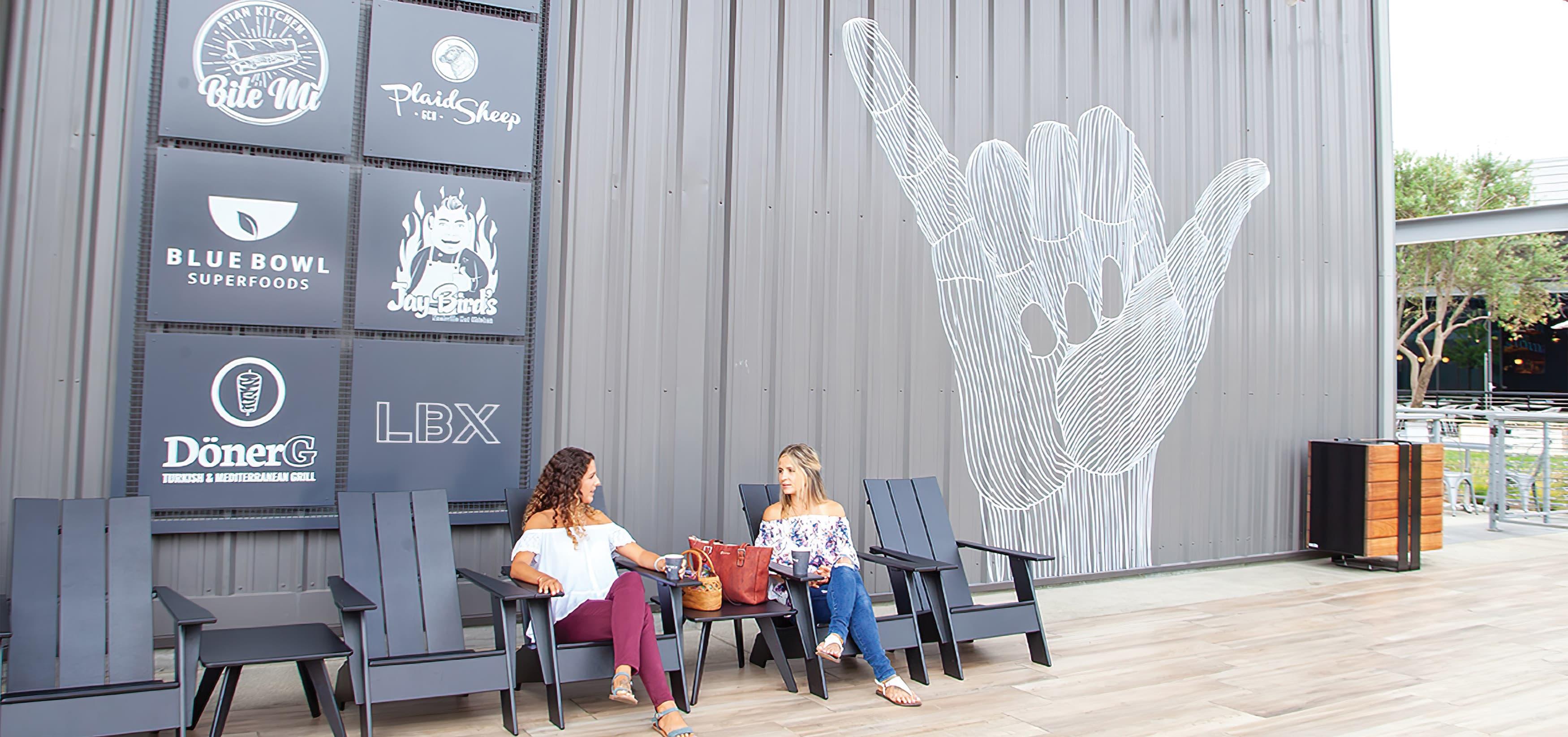 The Hangar, a food hall dining complex at Long Beach Exchange.  Mural Design. Public Art.