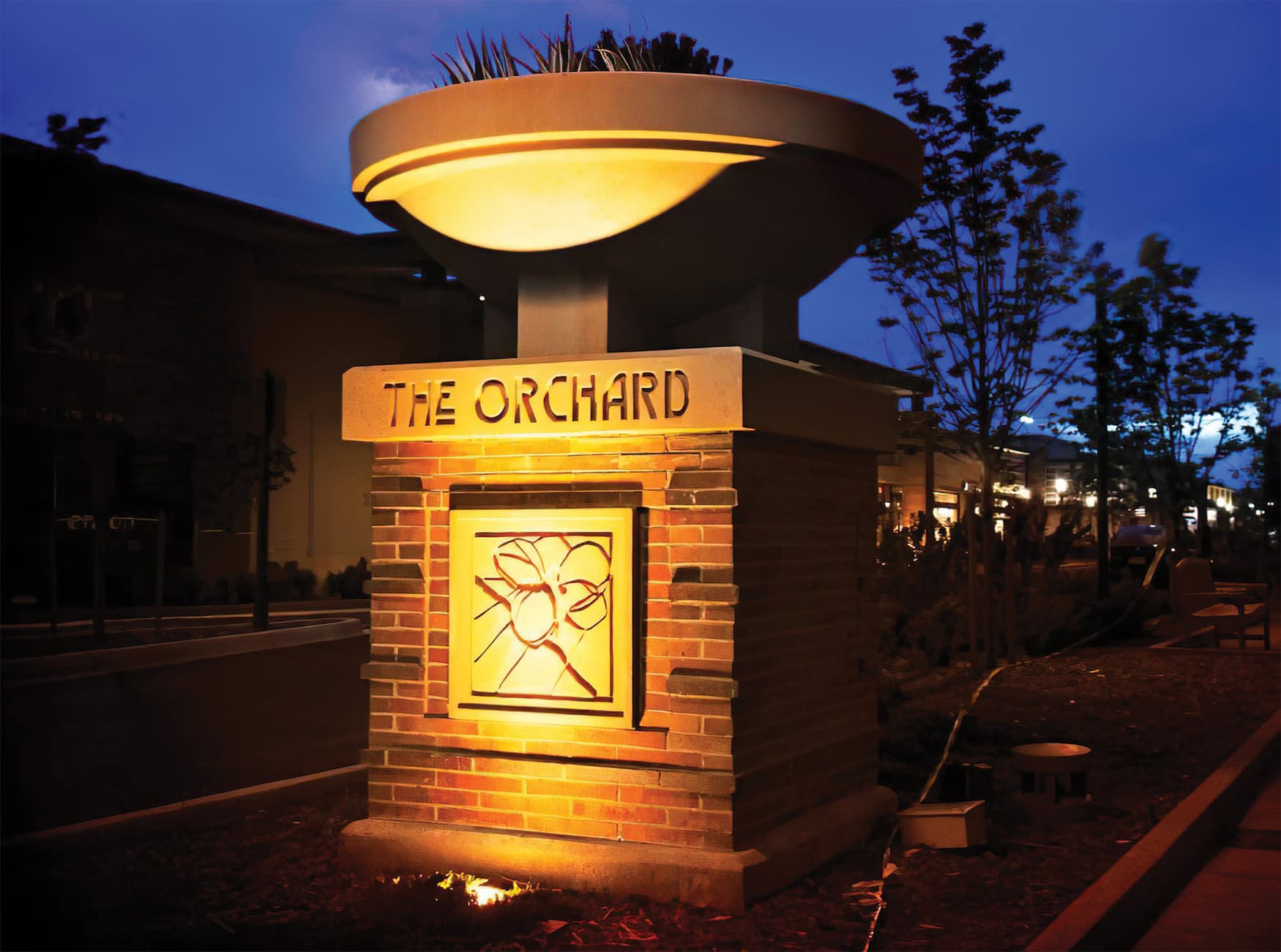 RSM Design worked to create a wayfinding system and Environmental Graphic Design program for The Orchard, a mixed-use retail project in Westminster, Colorado. Project Monument Design.
