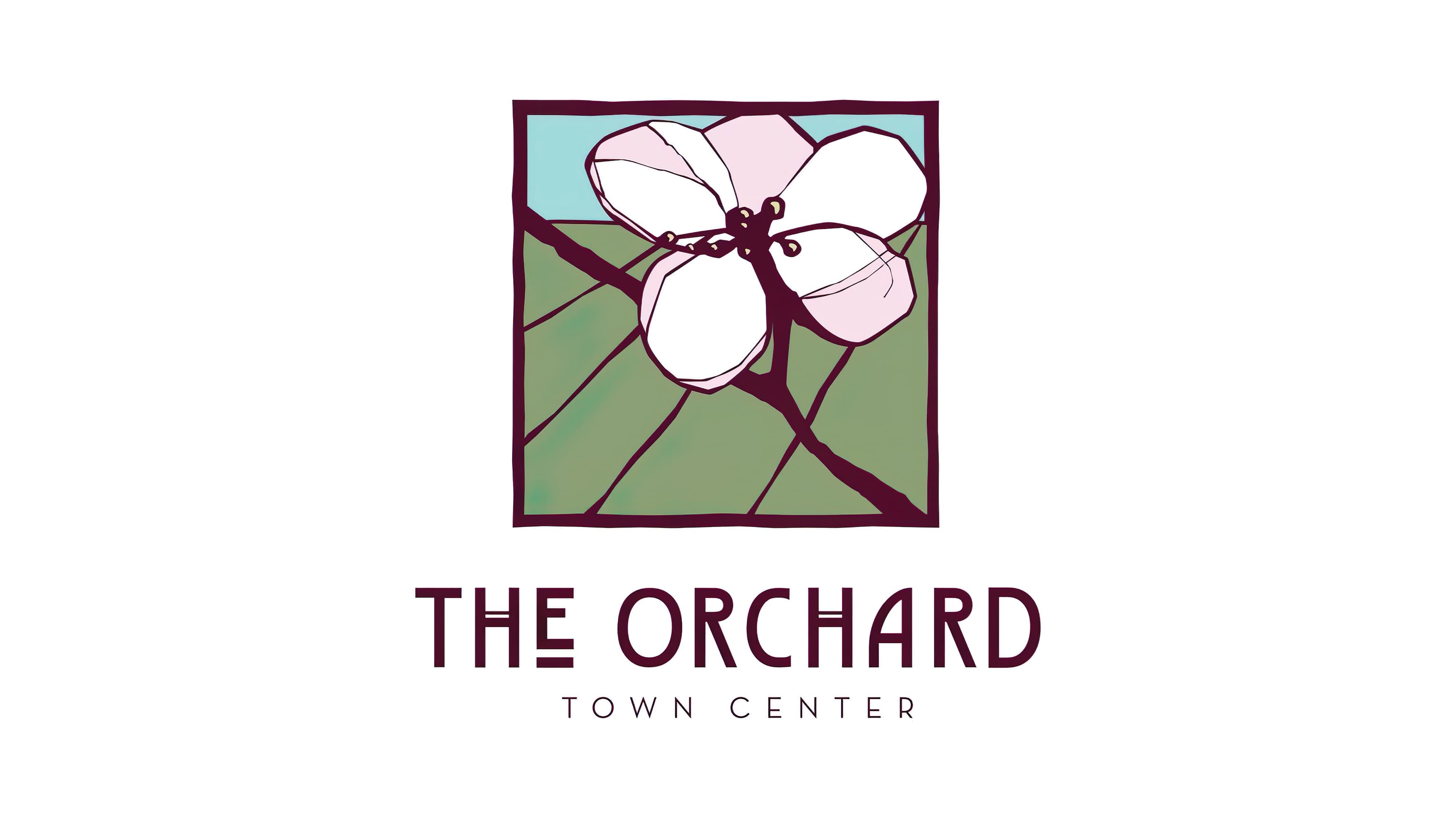 The Orchard stained-glass style flower logo-mark and logo