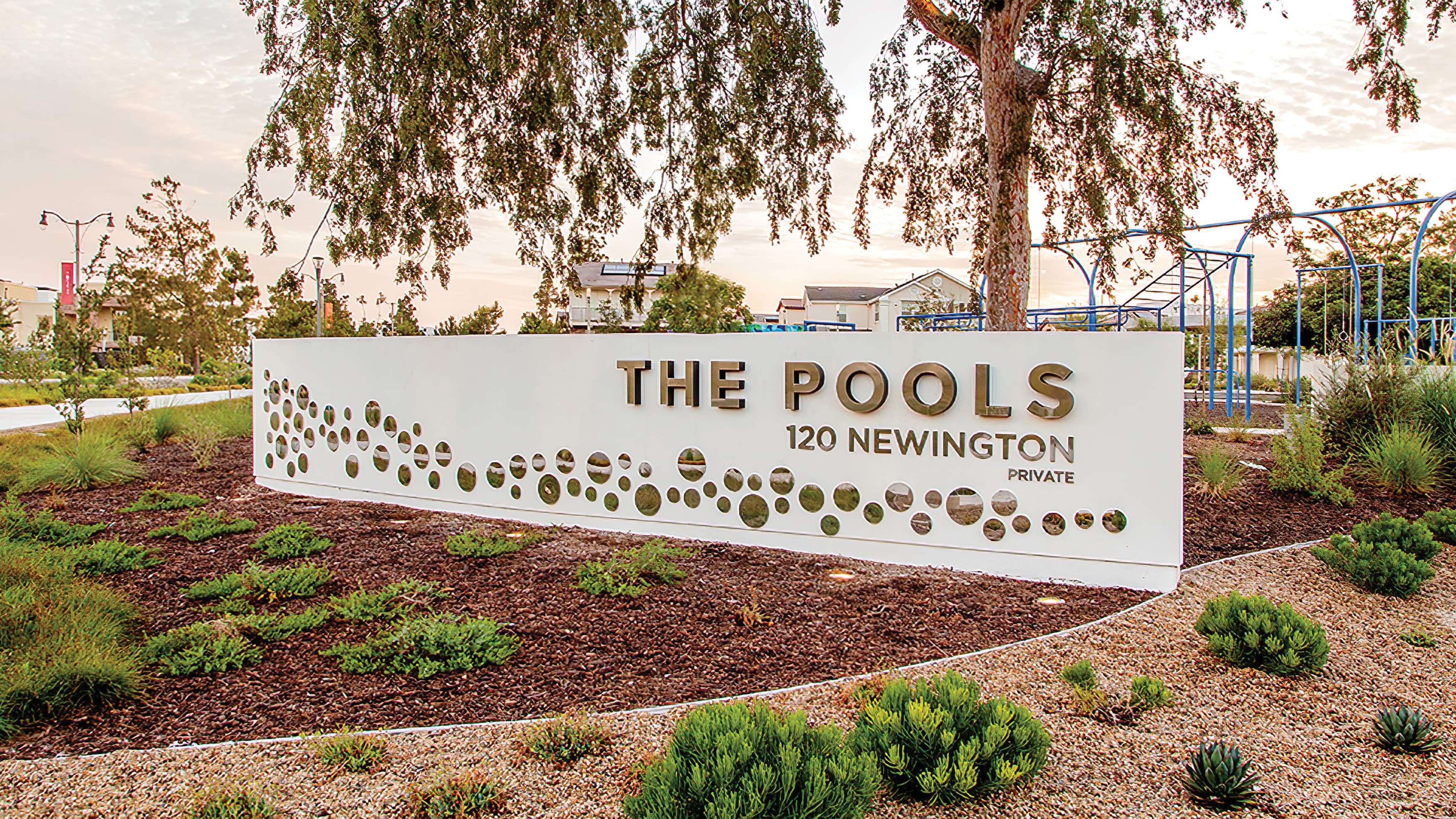 The Pools monument identity integrated in to the surrounding landscape