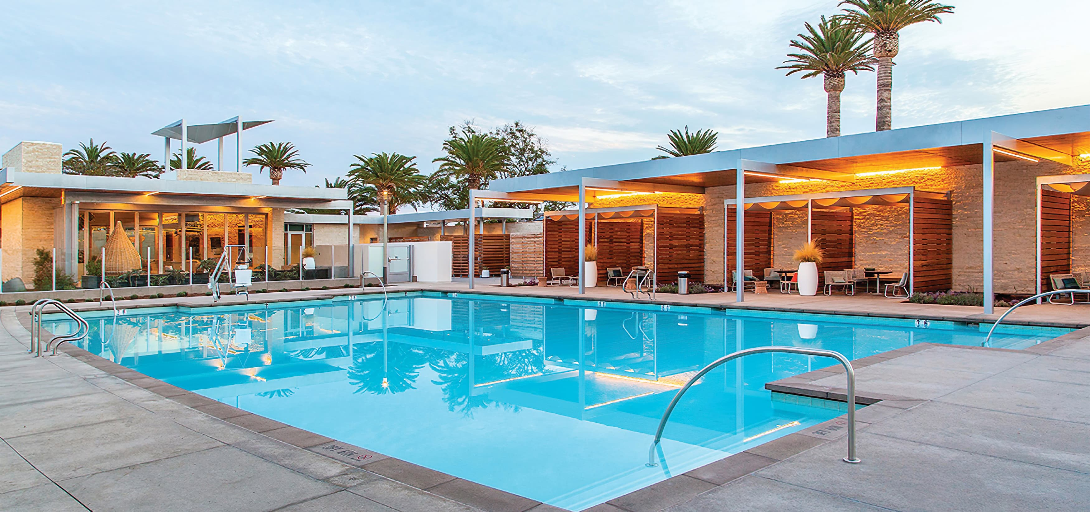 The Pools, a residential community park in Irvine, California. RSM Design prepared identity signage and regulatory signage.