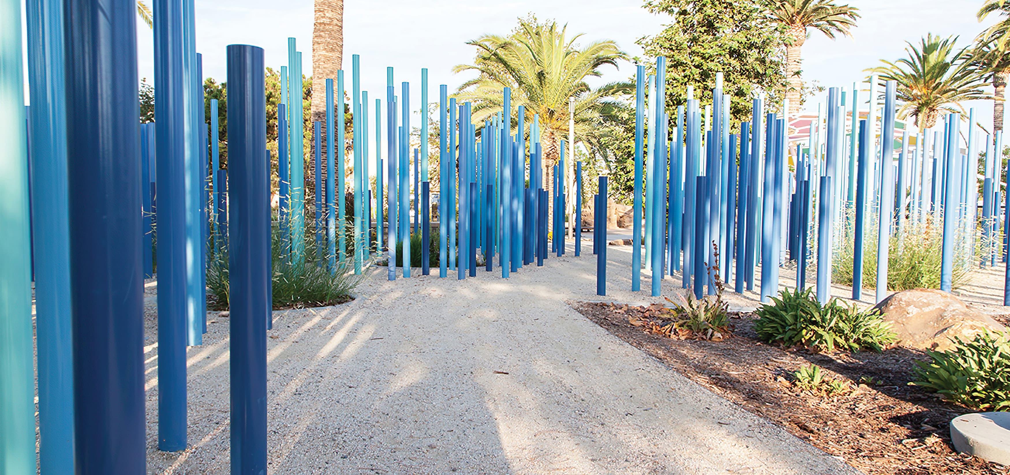 The Pools, a residential community park in Irvine, California. RSM Design prepared identity signage and regulatory signage. Sculptural Design. Park Design.