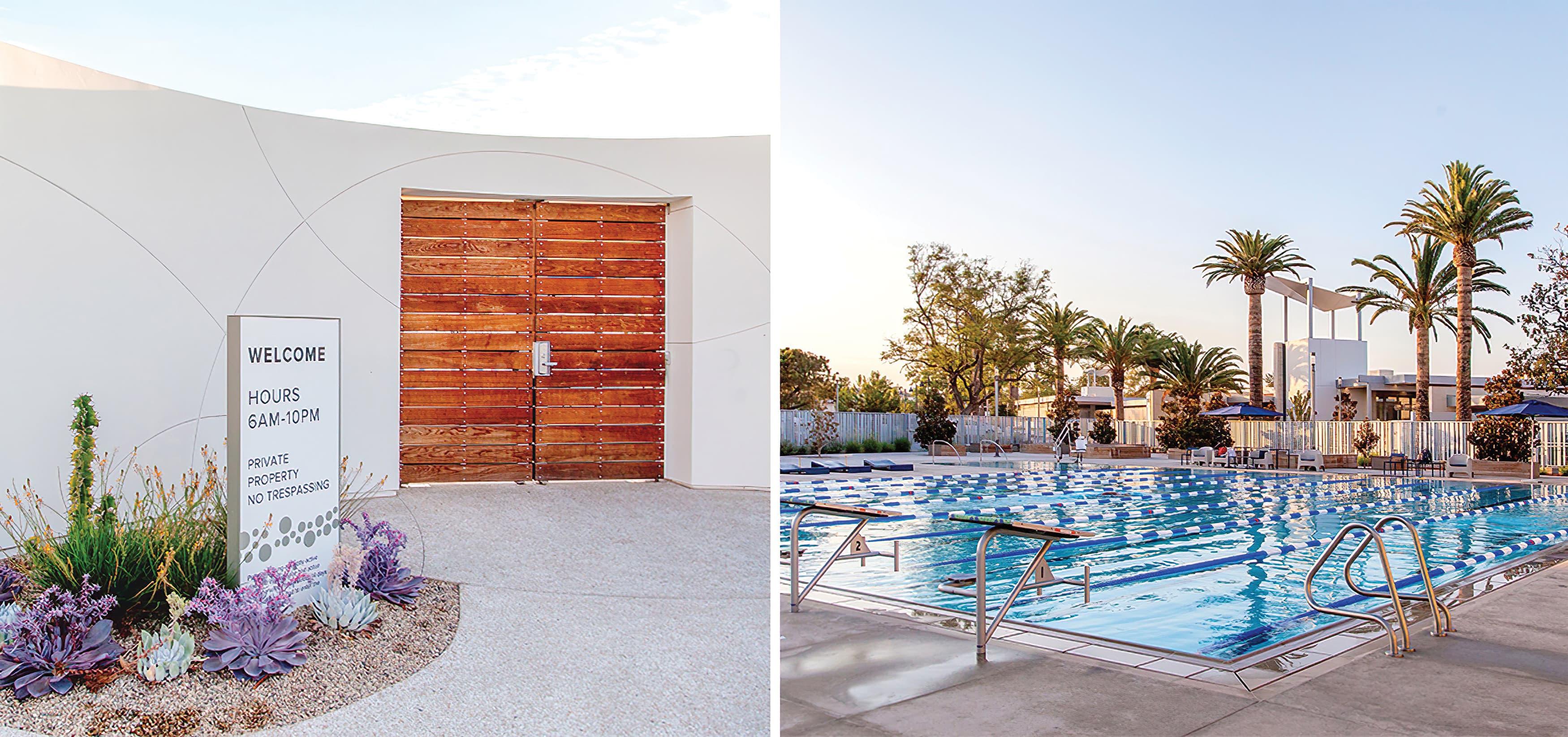 The Pools, a residential community park in Irvine, California. RSM Design prepared identity signage and regulatory signage. Park Design.