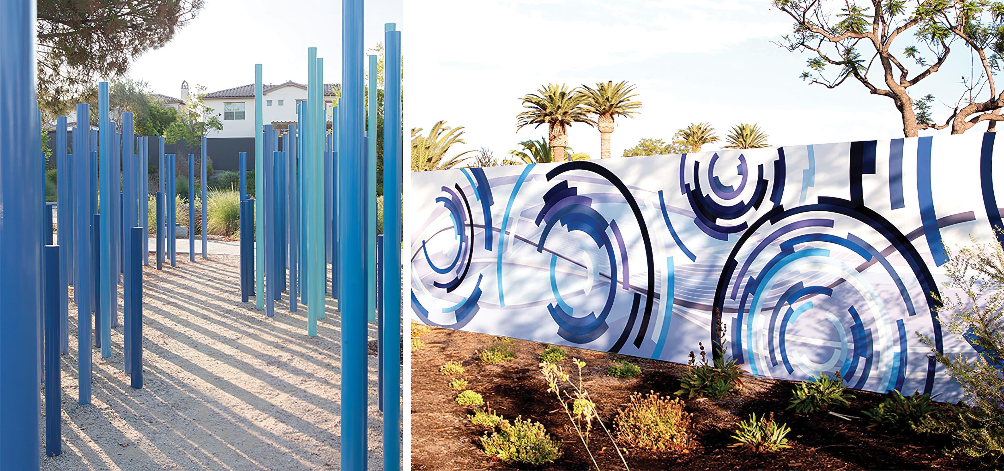 The Pools, a residential community park in Irvine, California. RSM Design prepared identity signage and regulatory signage. Sculptural Design. Park Design. Mural Design. Public Art.