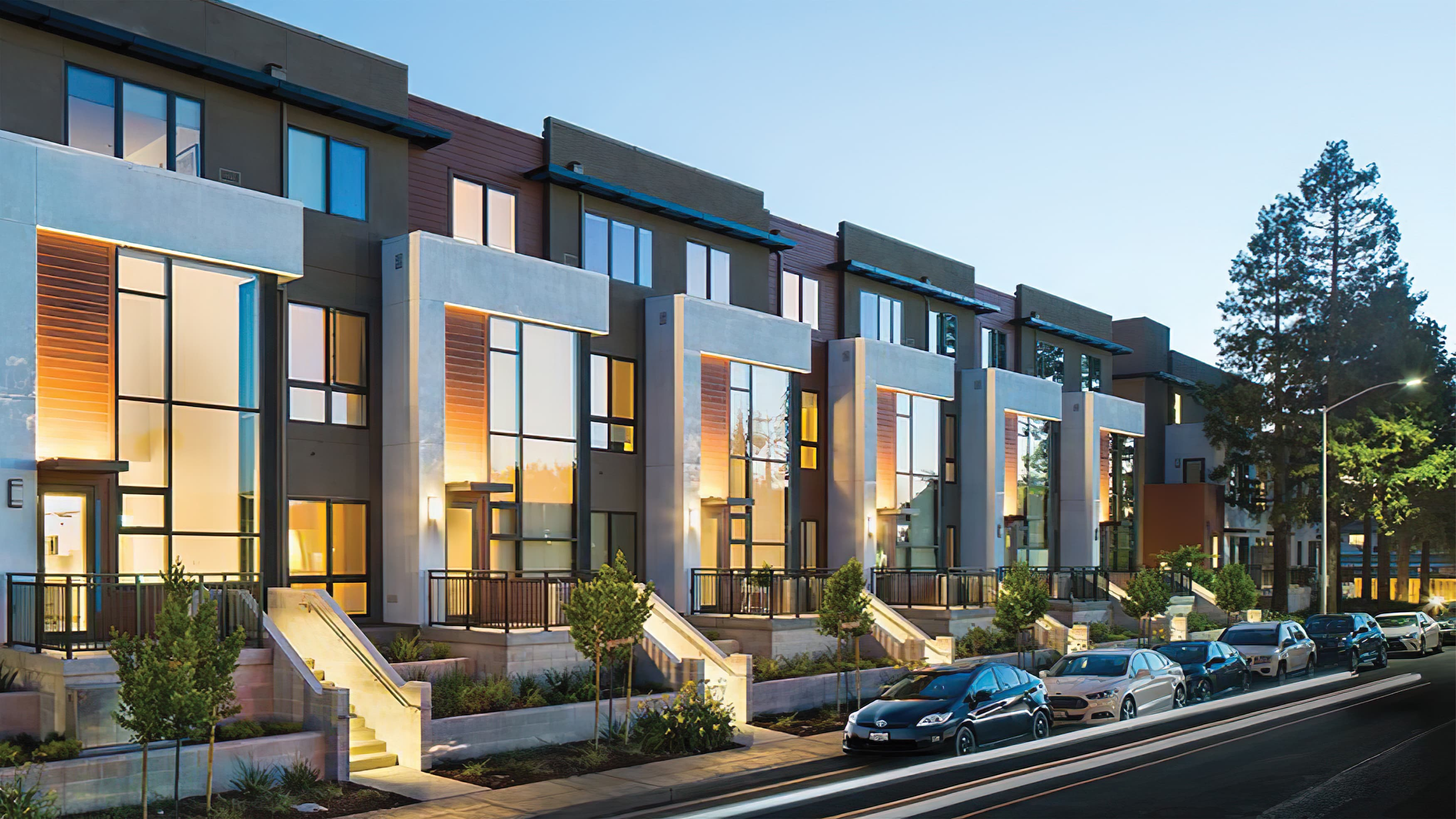 A rendering of modern architecture at Verve in Mountain View