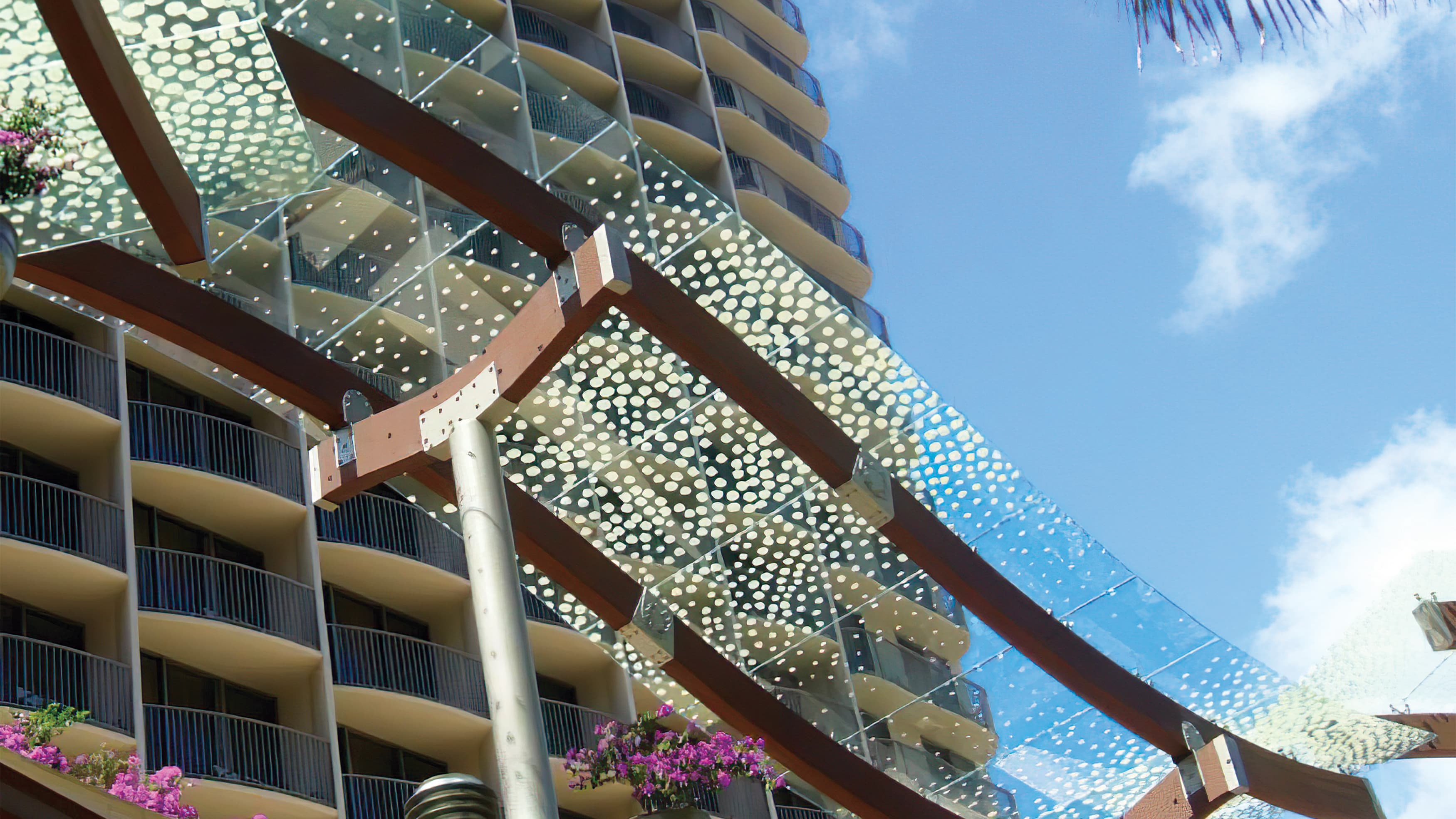 A photograph of a pattern applied to an architectural canopy element.