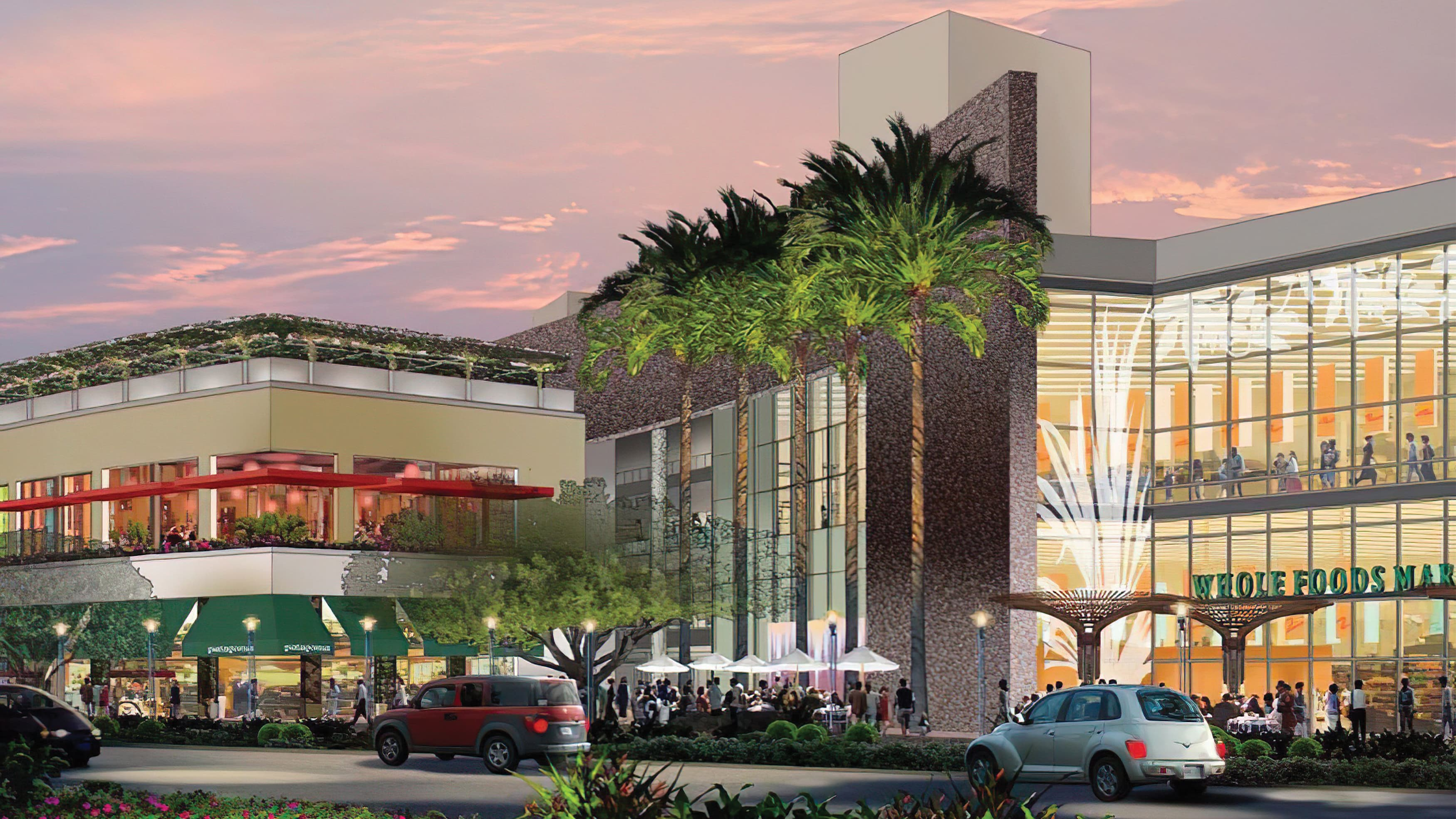 A rendering depicting retail architecture at Ward Village.