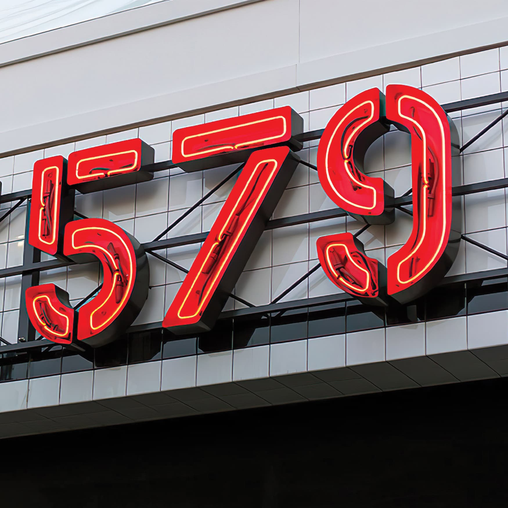 Lot 579 project identity sign detail. Beautiful stencil styled letters with neon inlay.