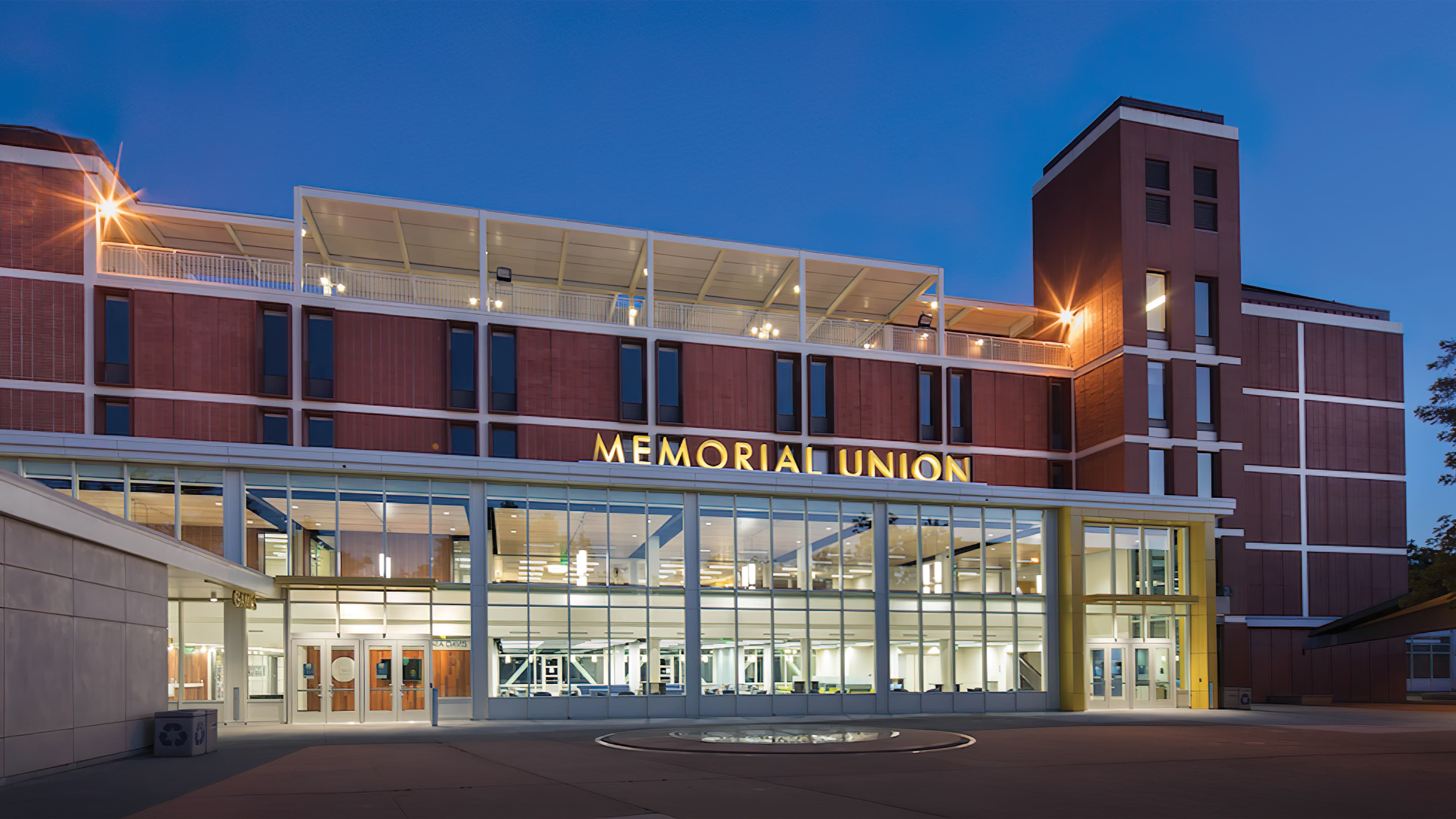 Memorial Union dimensional project identity on brick campus building