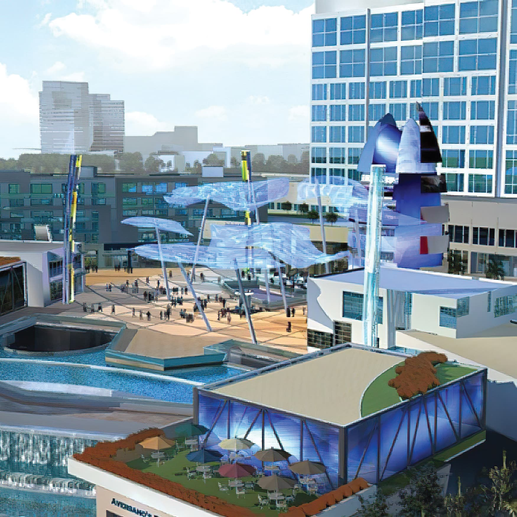 Architect's rendering of Orlando Connection project's rooftop amentities