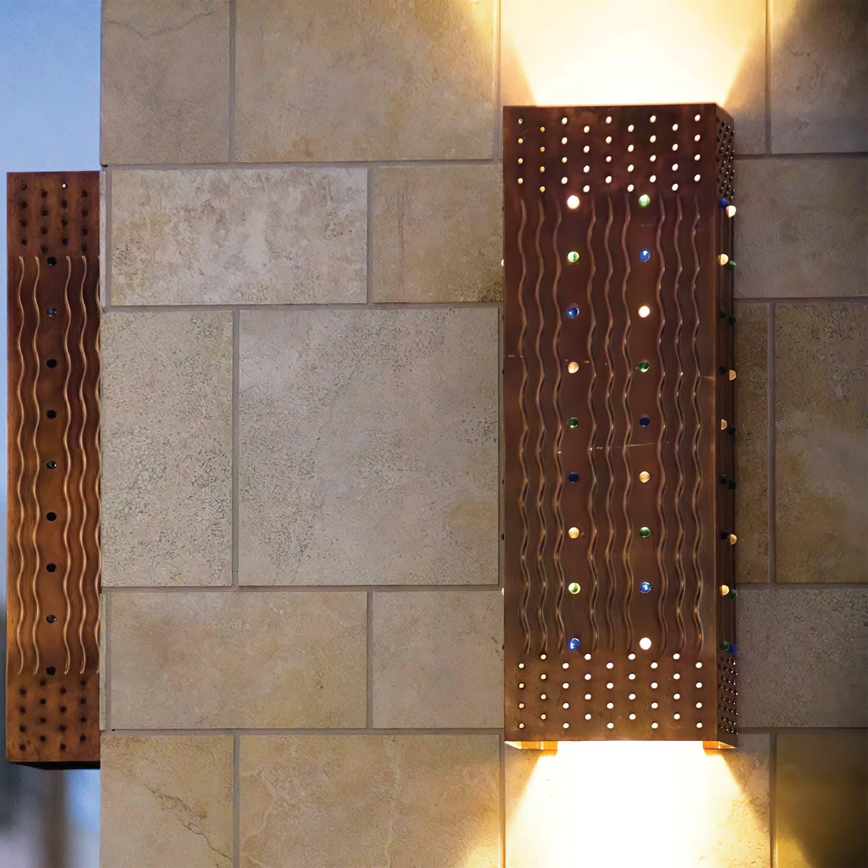Custom copper light fixture, a piece of the public art program by RSM Design