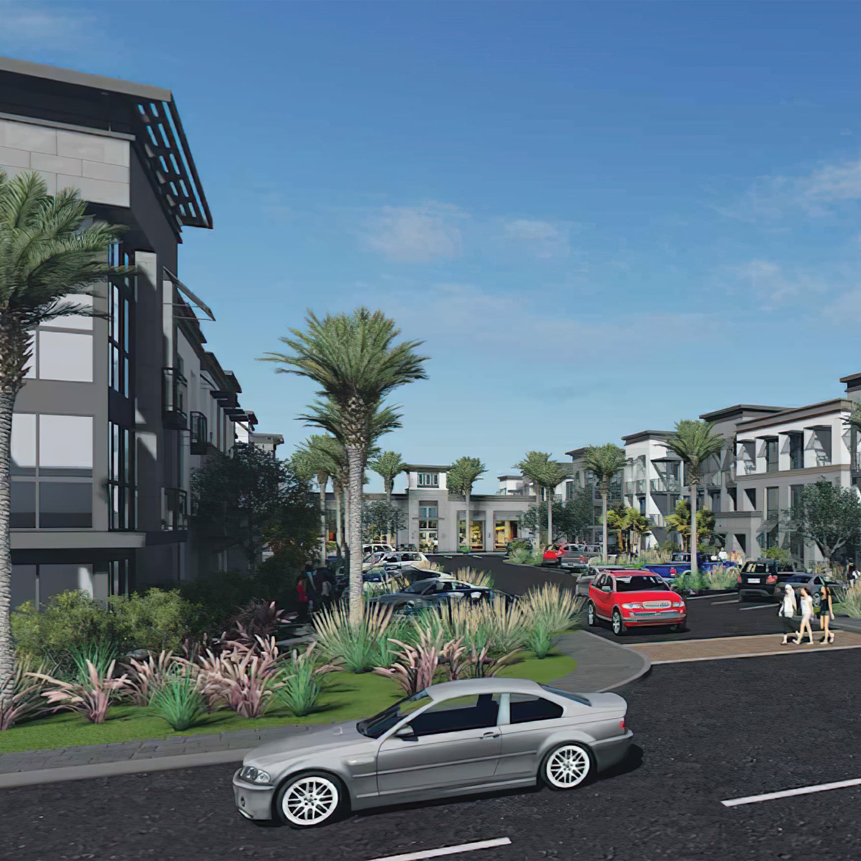 Architect's rendering of multi-family apartment project in Vista, California