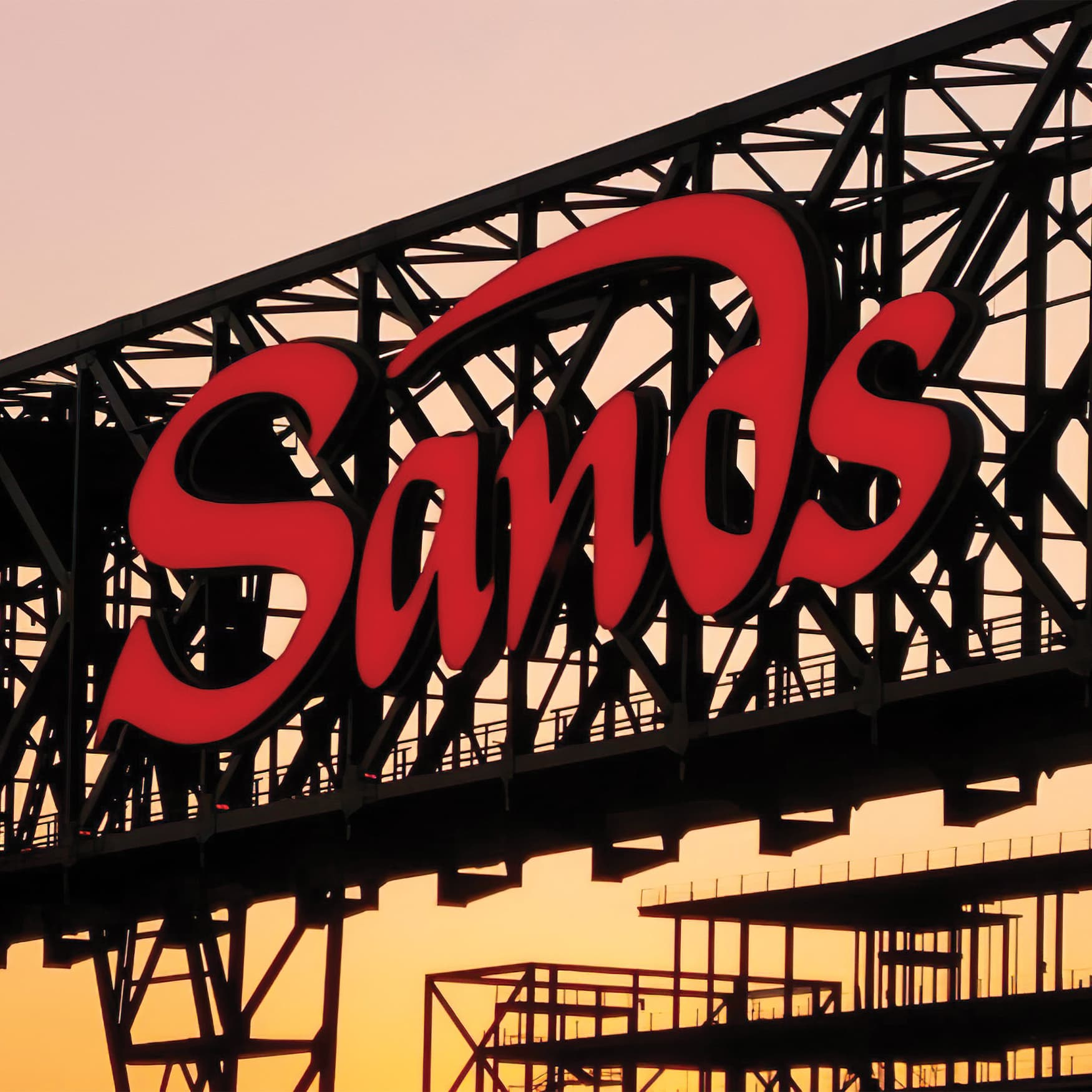 Architecturally integrated Sands Casino Resort identity sign