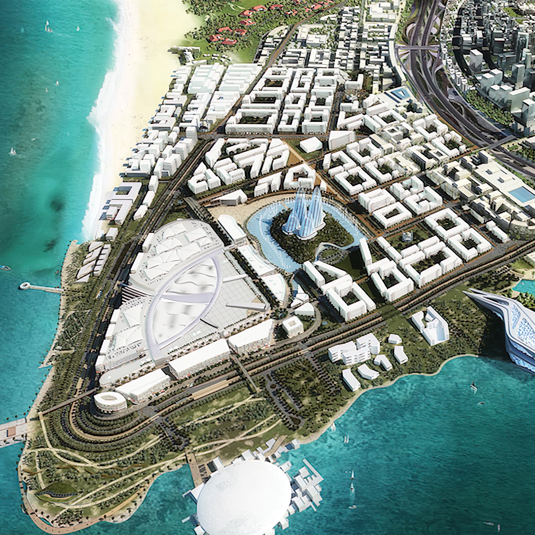 "Aerial view of entire ""The District"" project situated next to the sea"