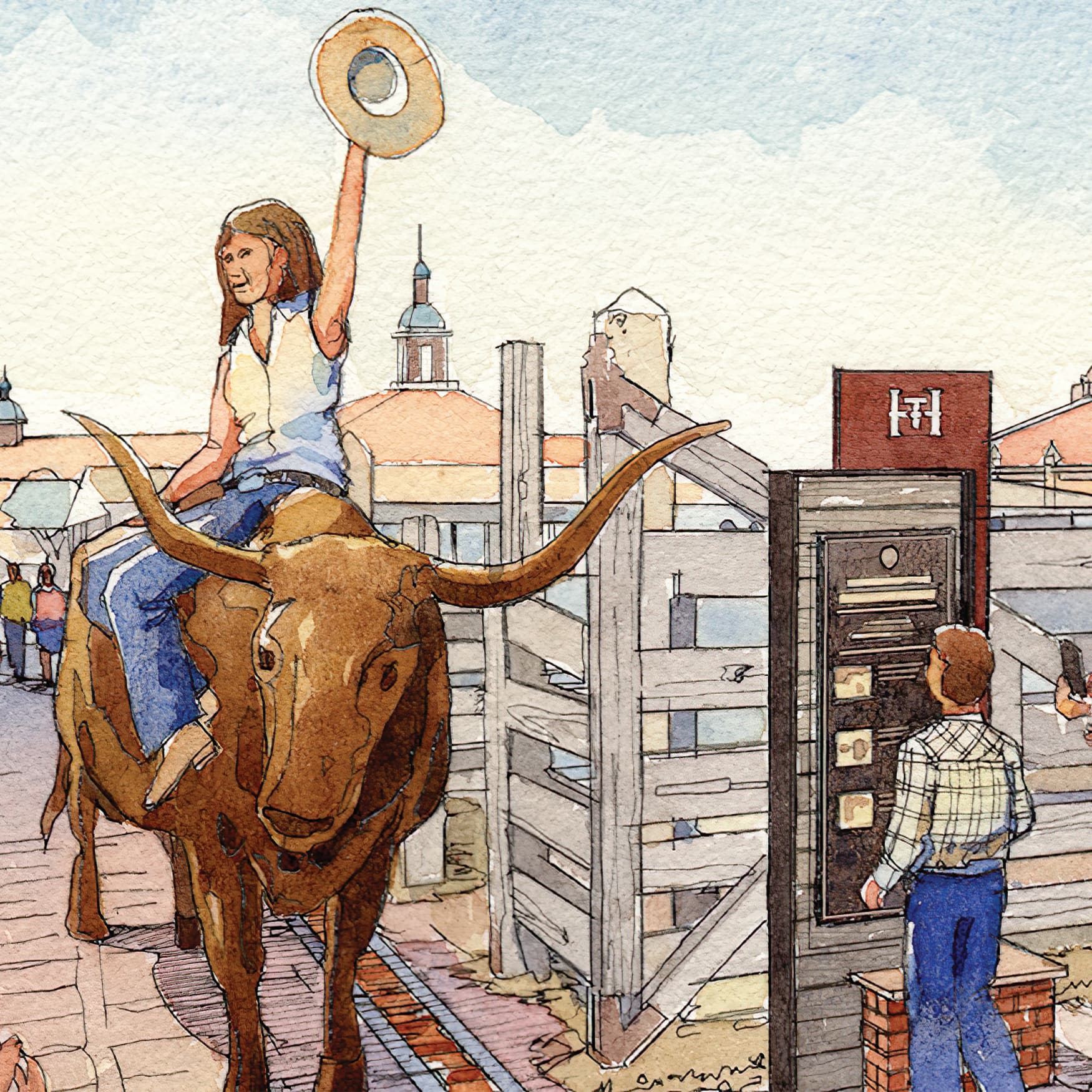 Illustration of woman posing on long-horn bull and child reading a project directory