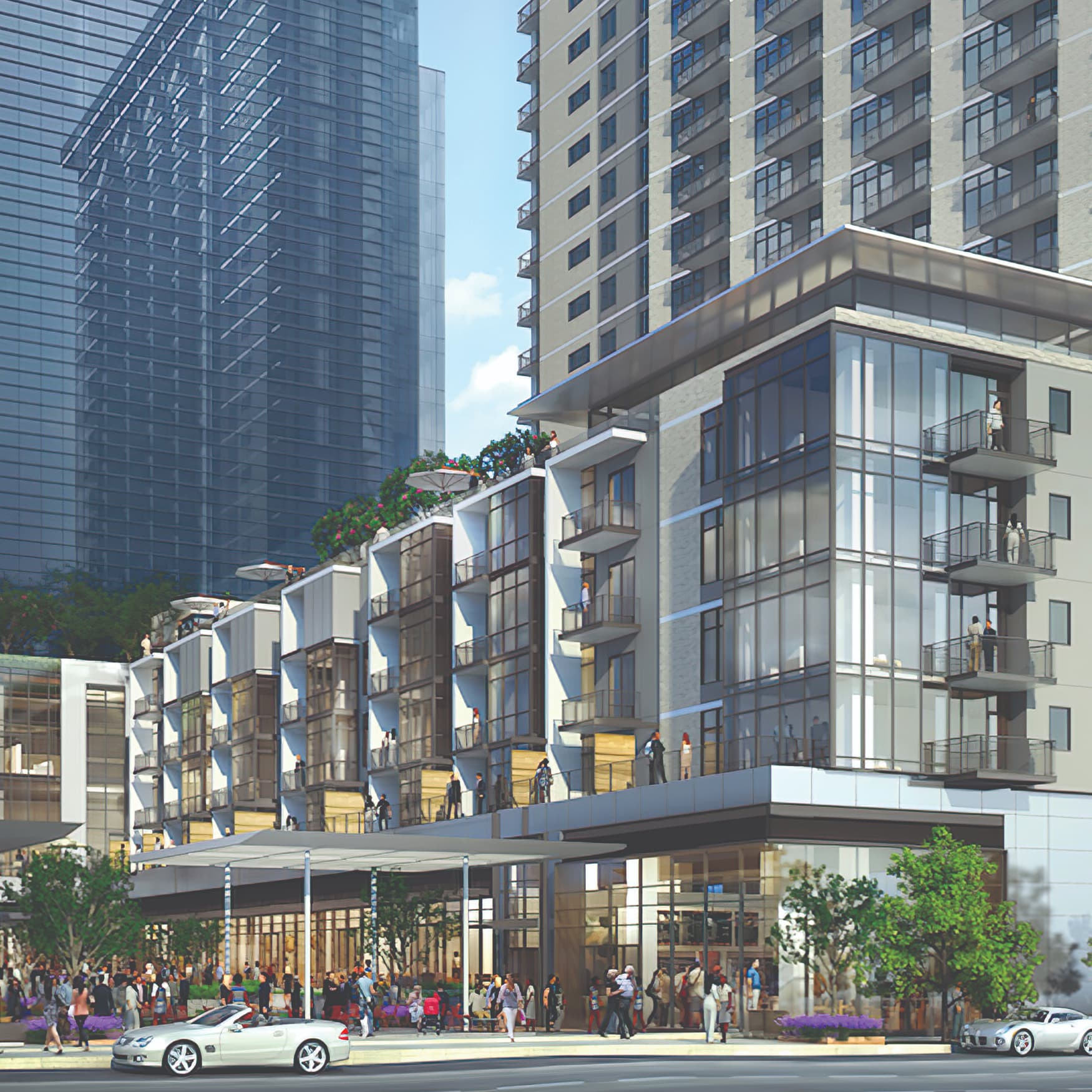 A rendering of architecture at The Union. Downtown City scape project in Dallas Texas.