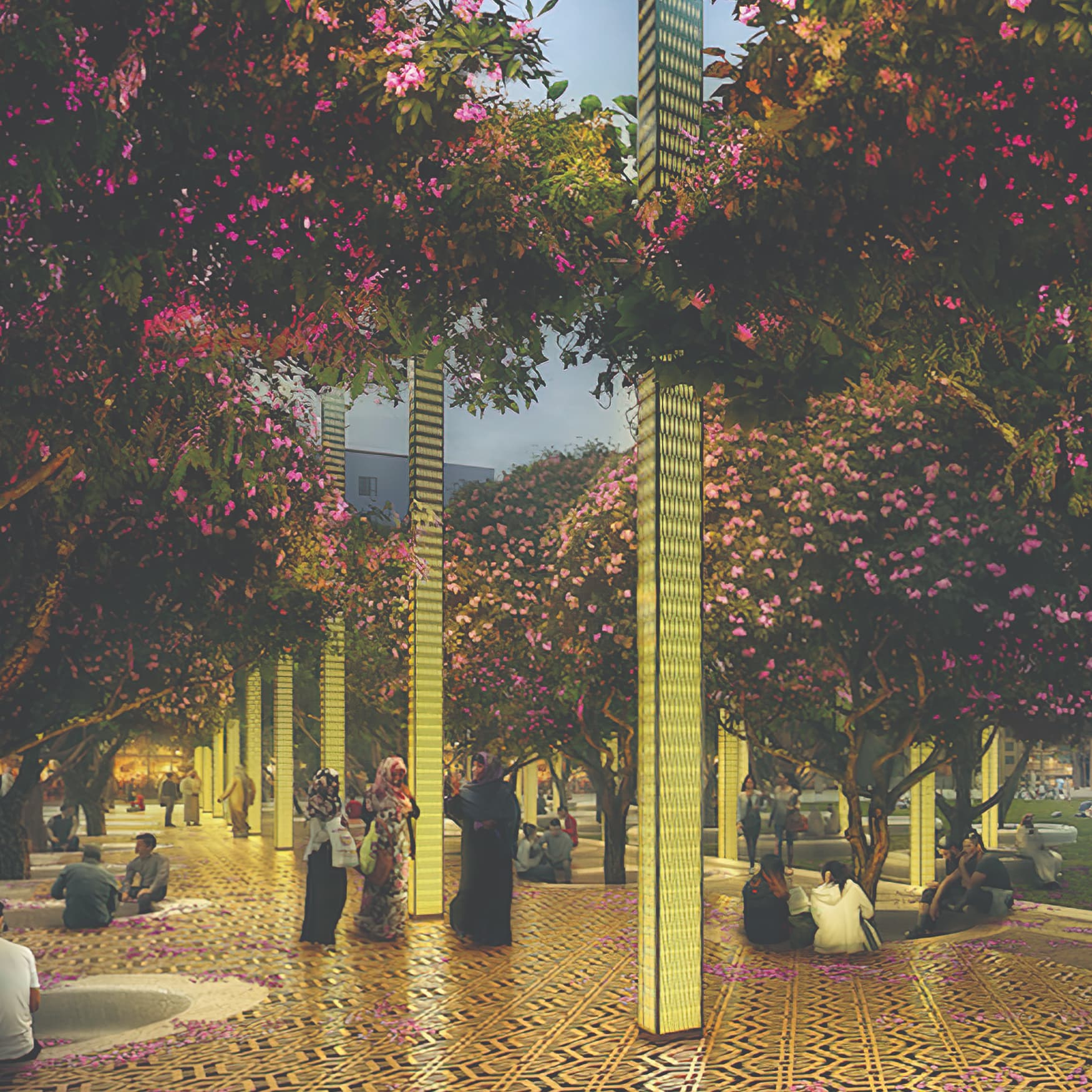A conceptual rendering depicting a plaza area with illuminated totem elements.