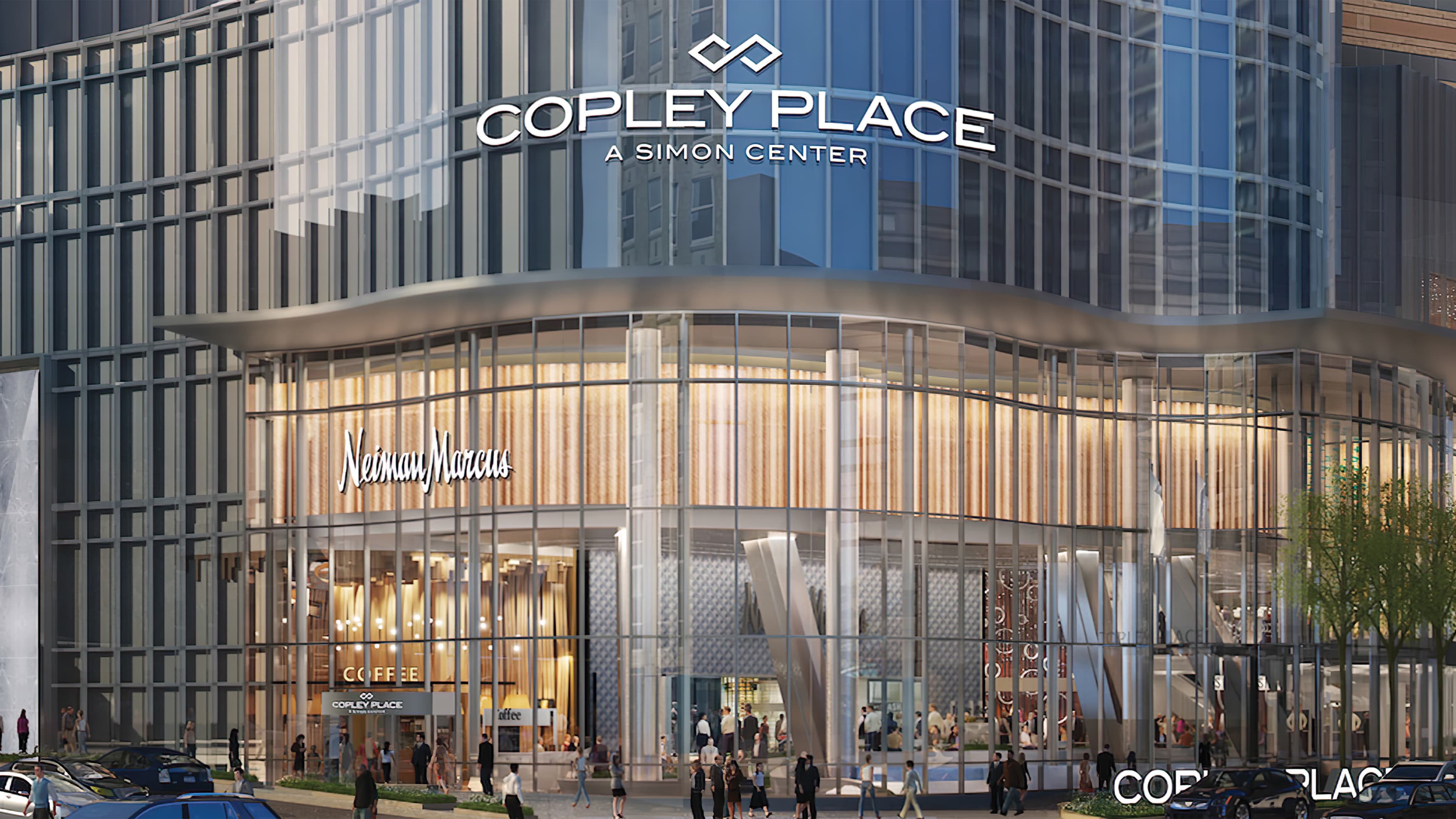 Copley Place identity signage integrated with architecture