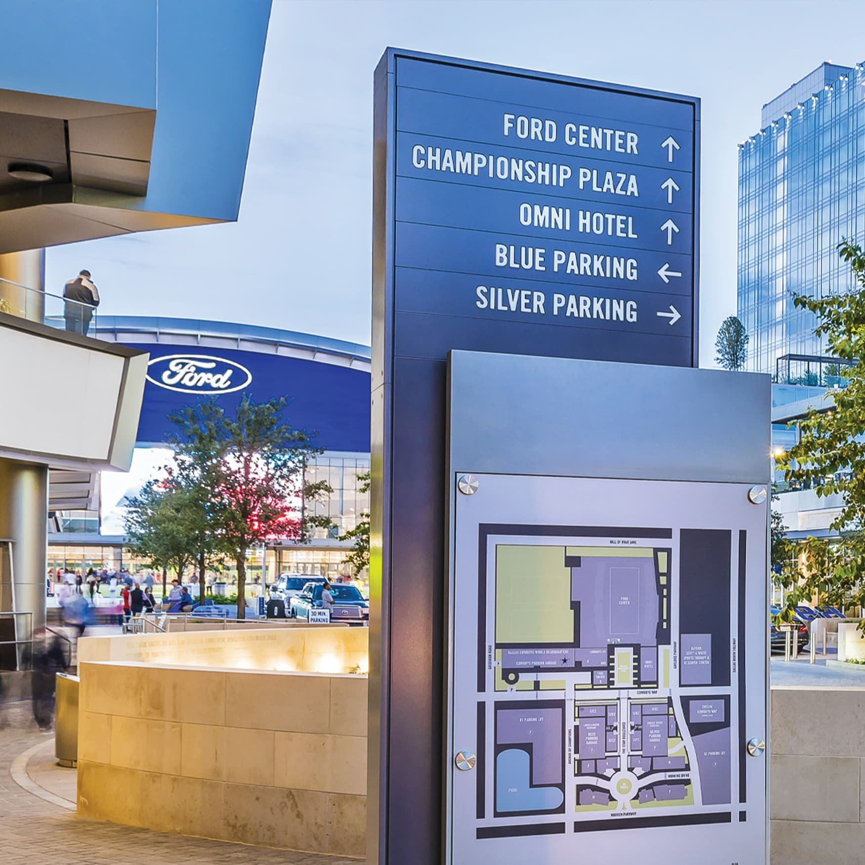 Dallas Cowboys headquarters wayfinding signage and directory map
