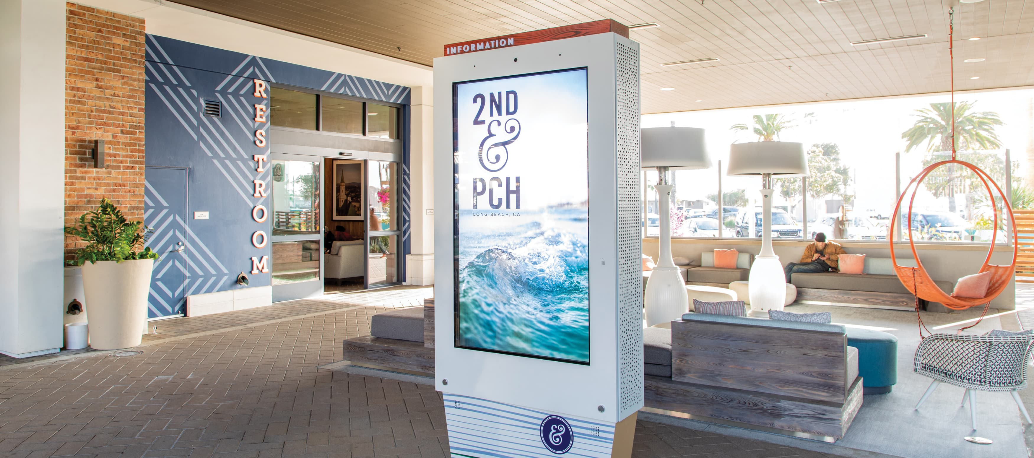 digital directory sign at an outdoor retail mall