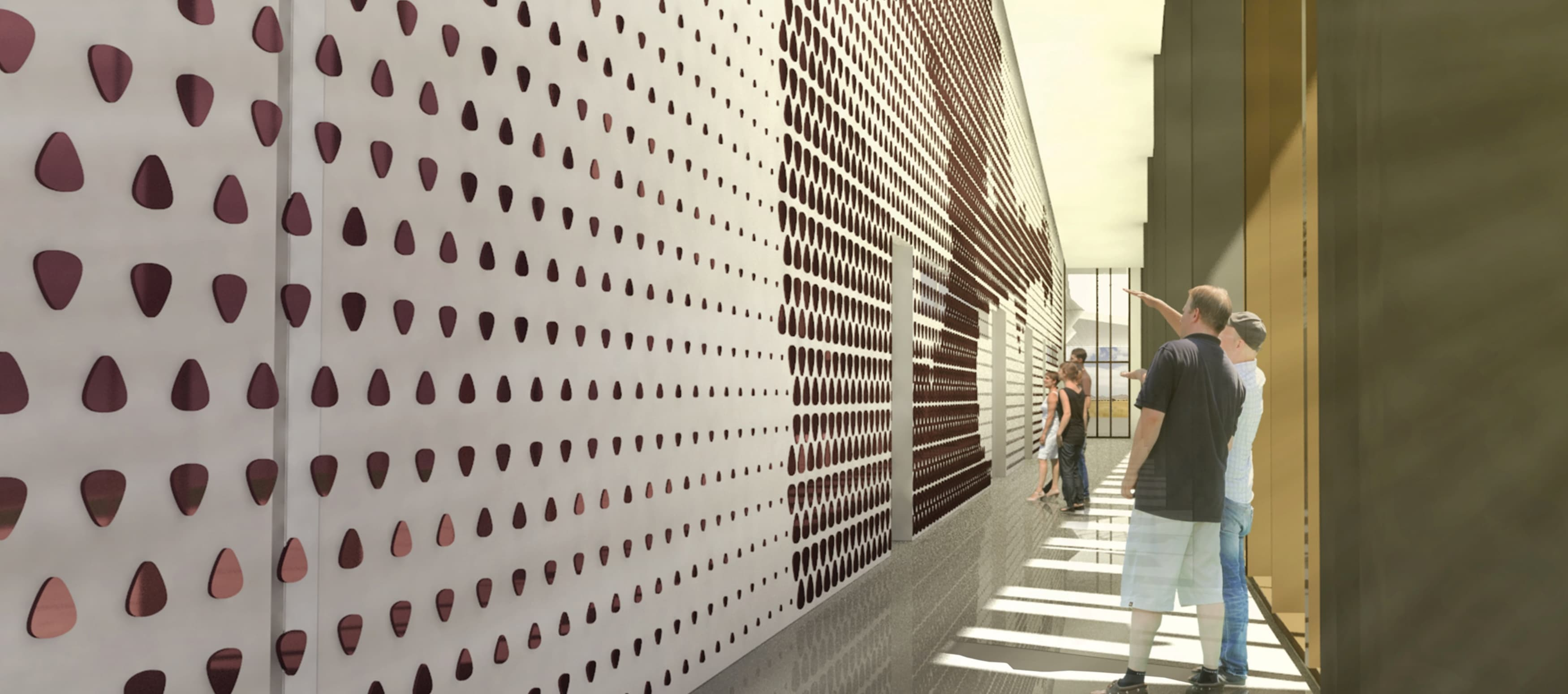 People standing in front of an entire wall covered in guitar picks at a museum