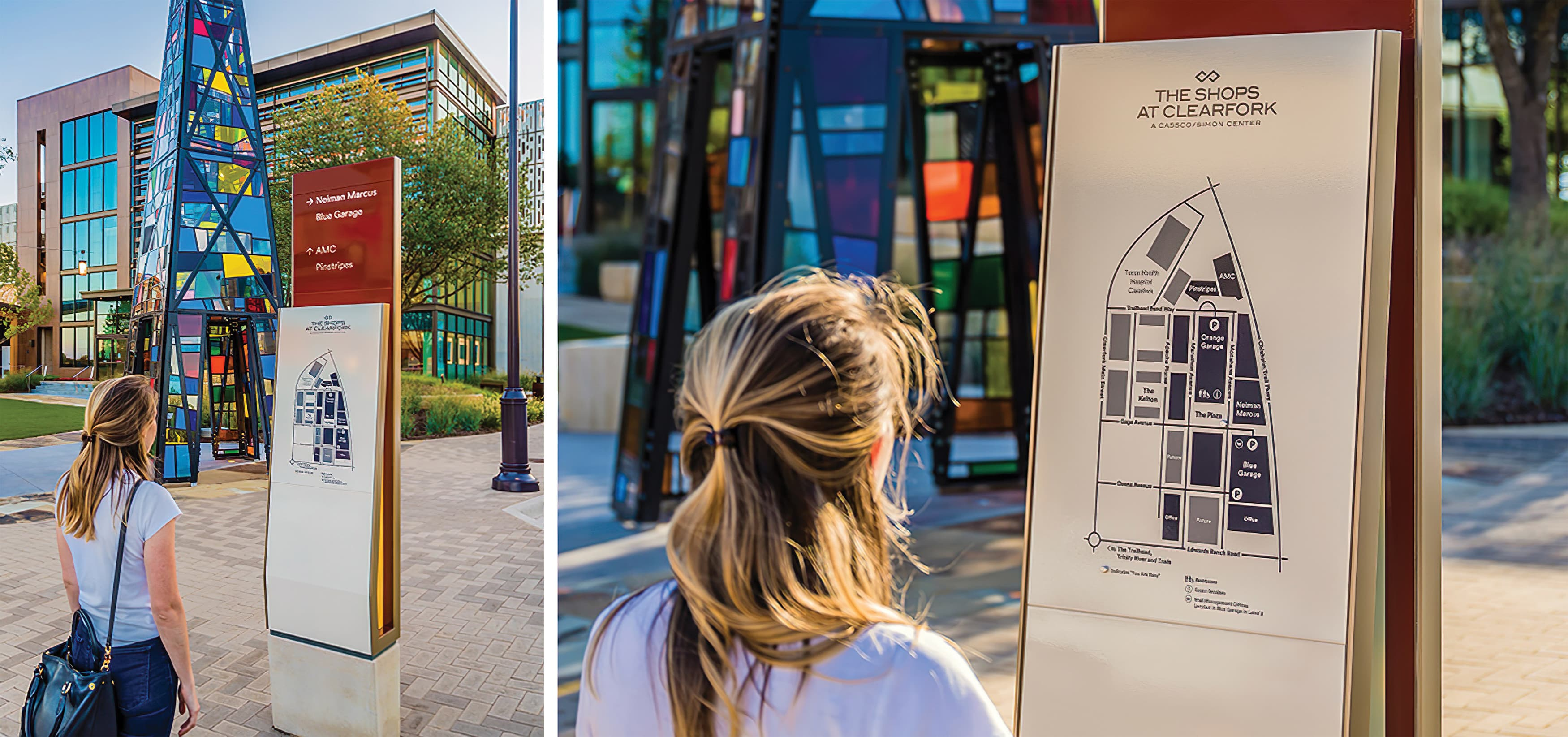 The Shops at Clearfork is an upscale, mixed-use development in the heart of Fort Worth. Pedestrian wayfinding design and site directory map.