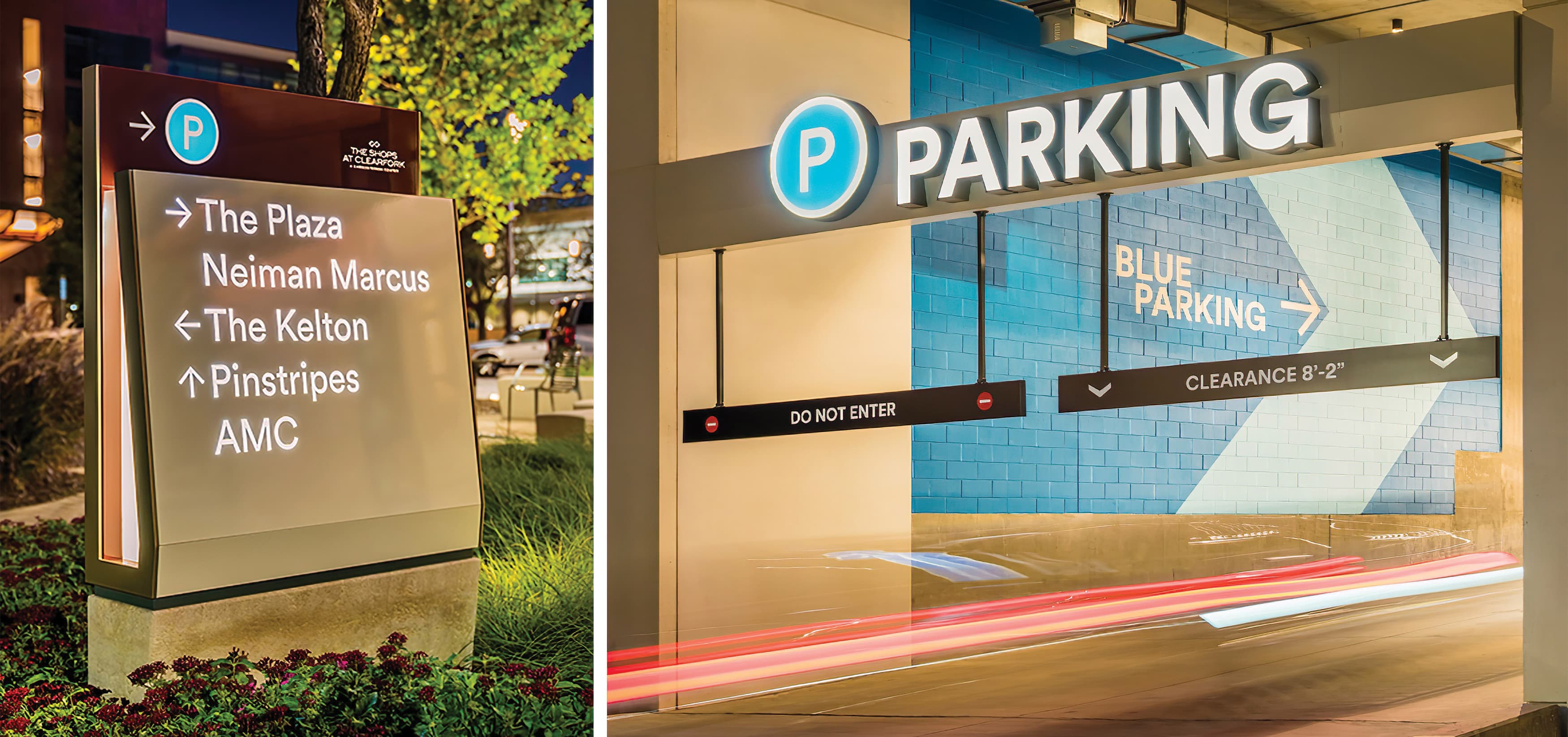 The Shops at Clearfork is an upscale, mixed-use development in the heart of Fort Worth. Vehicular wayfinding design and parking garage signage.