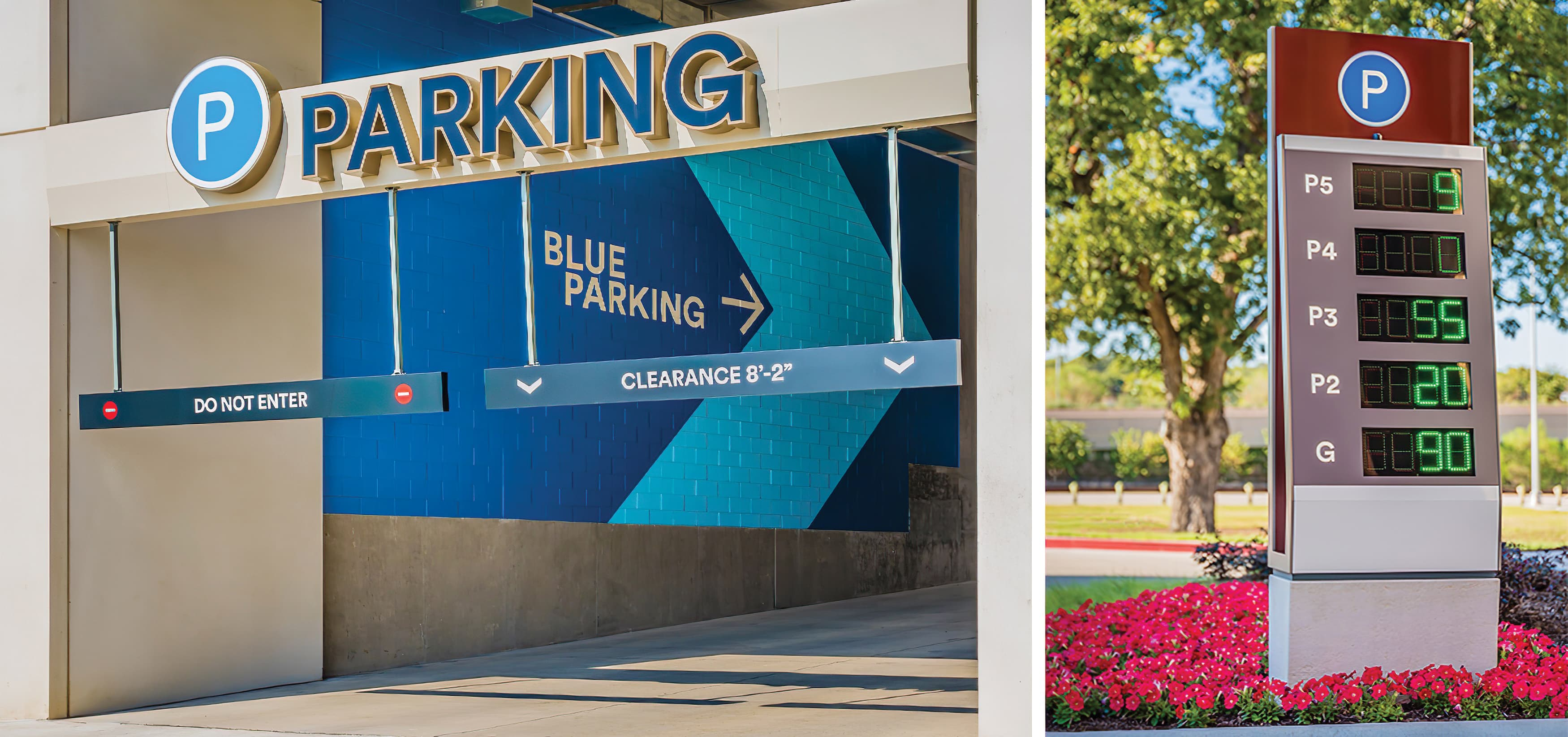 The Shops at Clearfork is an upscale, mixed-use development in the heart of Fort Worth. Parking digital counter and parking garage signage.