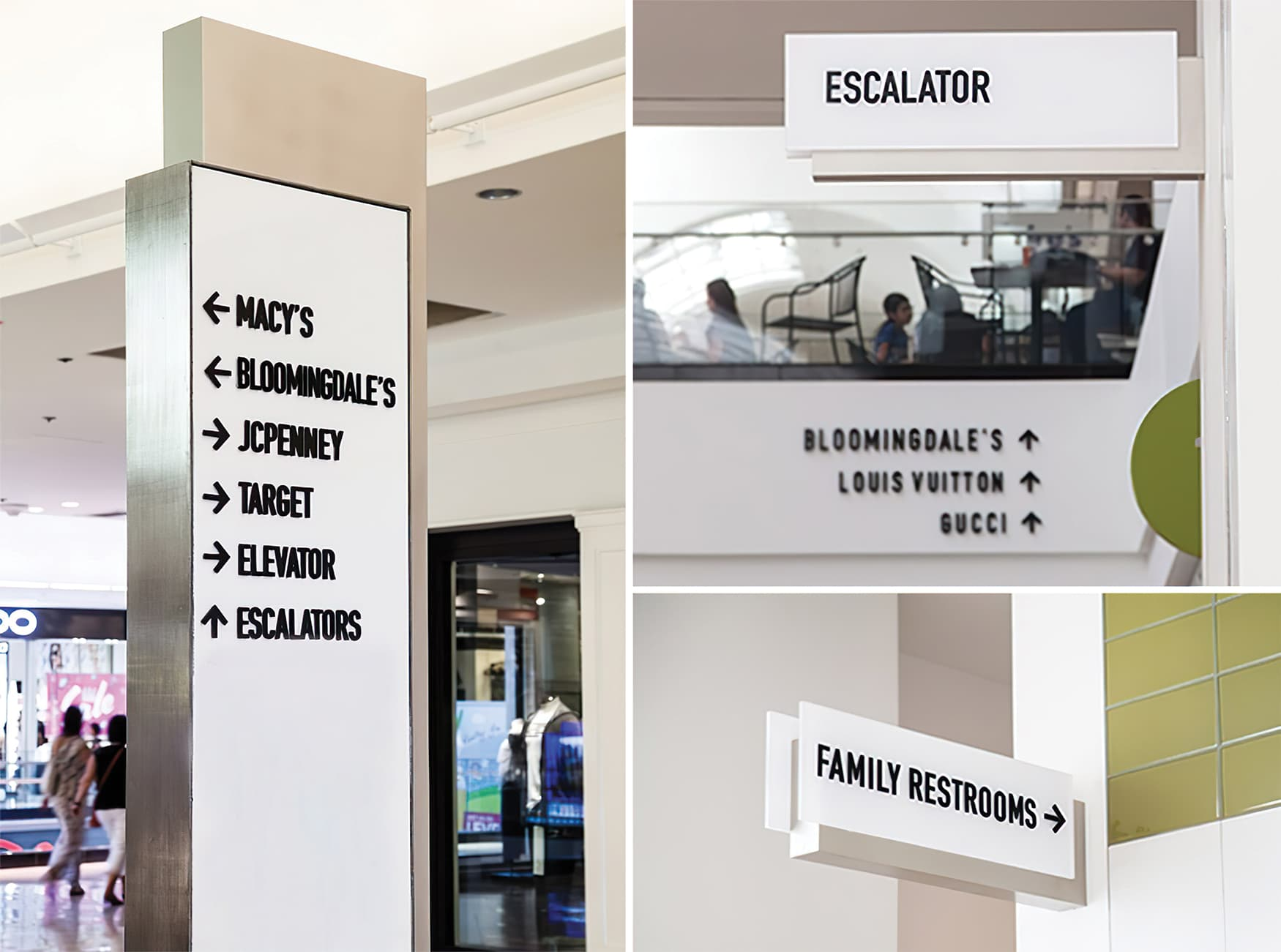 Glendale Galleria. A retail destination in Glendale, California. Retail wayfinding design and pedestrian directional. Restroom Signage.