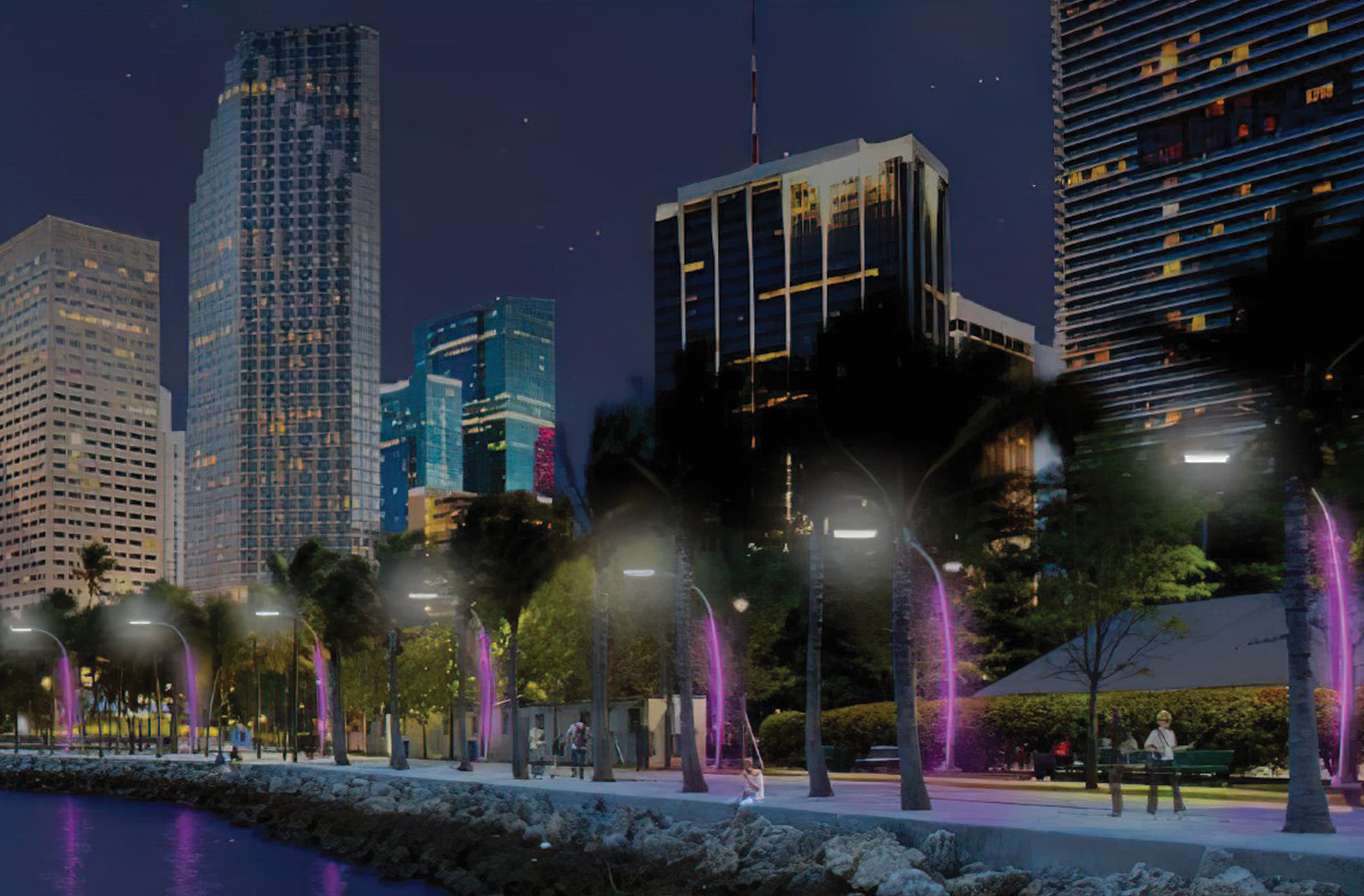 A nighttime conceptual rendering showing illuminated light poles along the water's edge.