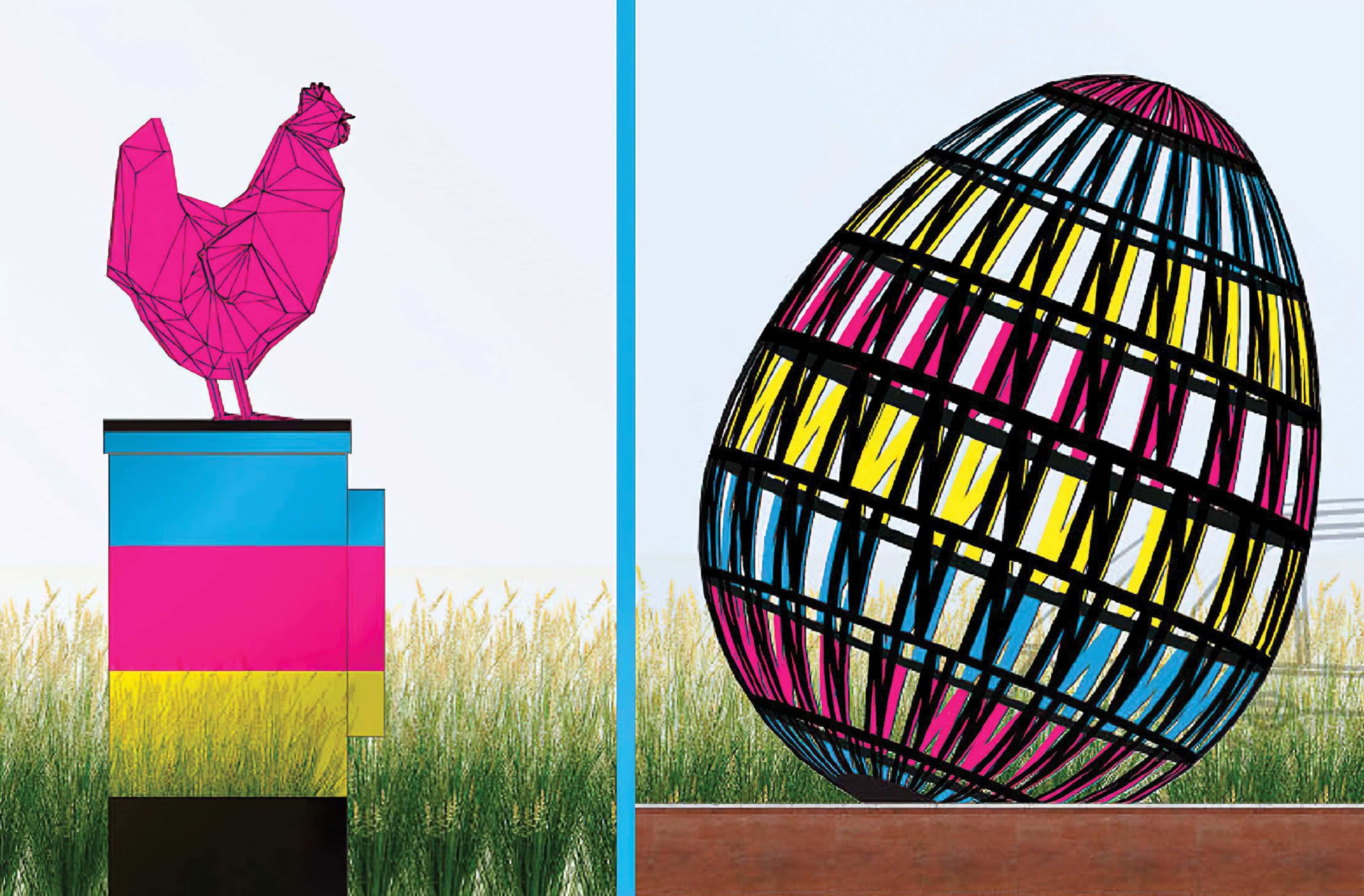 The Chicken and the Egg, a sculptural installation serving as a gateway for the NoMa neighborhood in Washington, D.C.