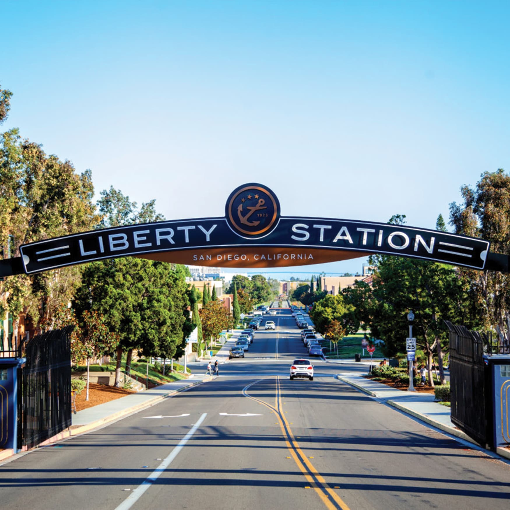 A gateway sign at Liberty Station in San Diego, California.
