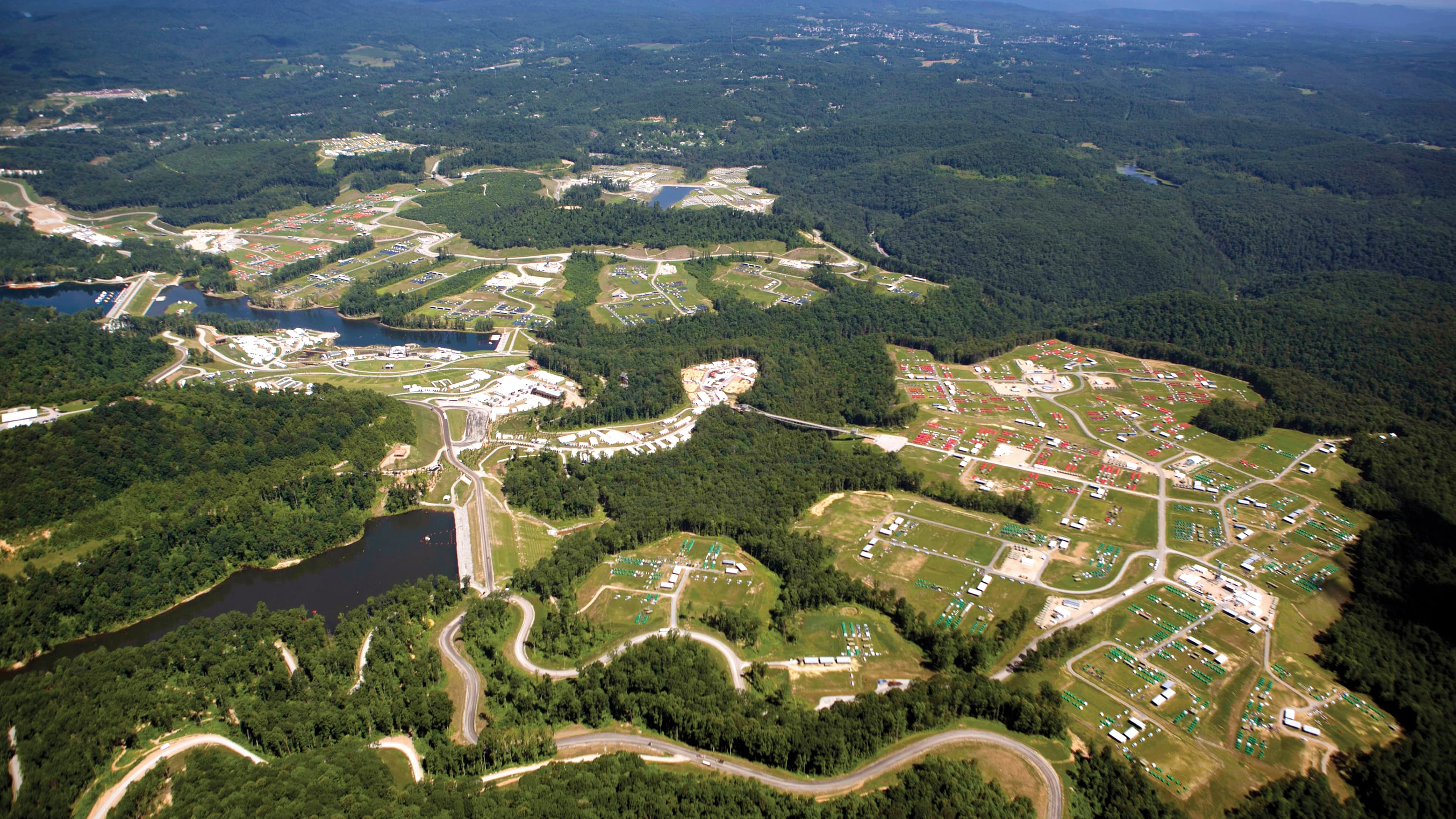 Overhead view of the whole Summit Bechtel Reserve Boy Scouts of America Jamboree site in West Virgina