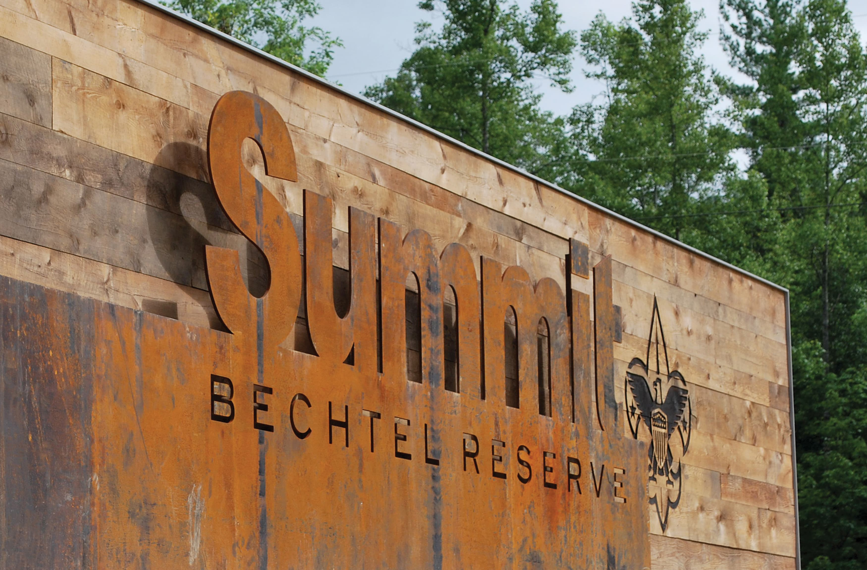 Boy Scouts of America, The Summit Bechtel Reserve corten project identity monument