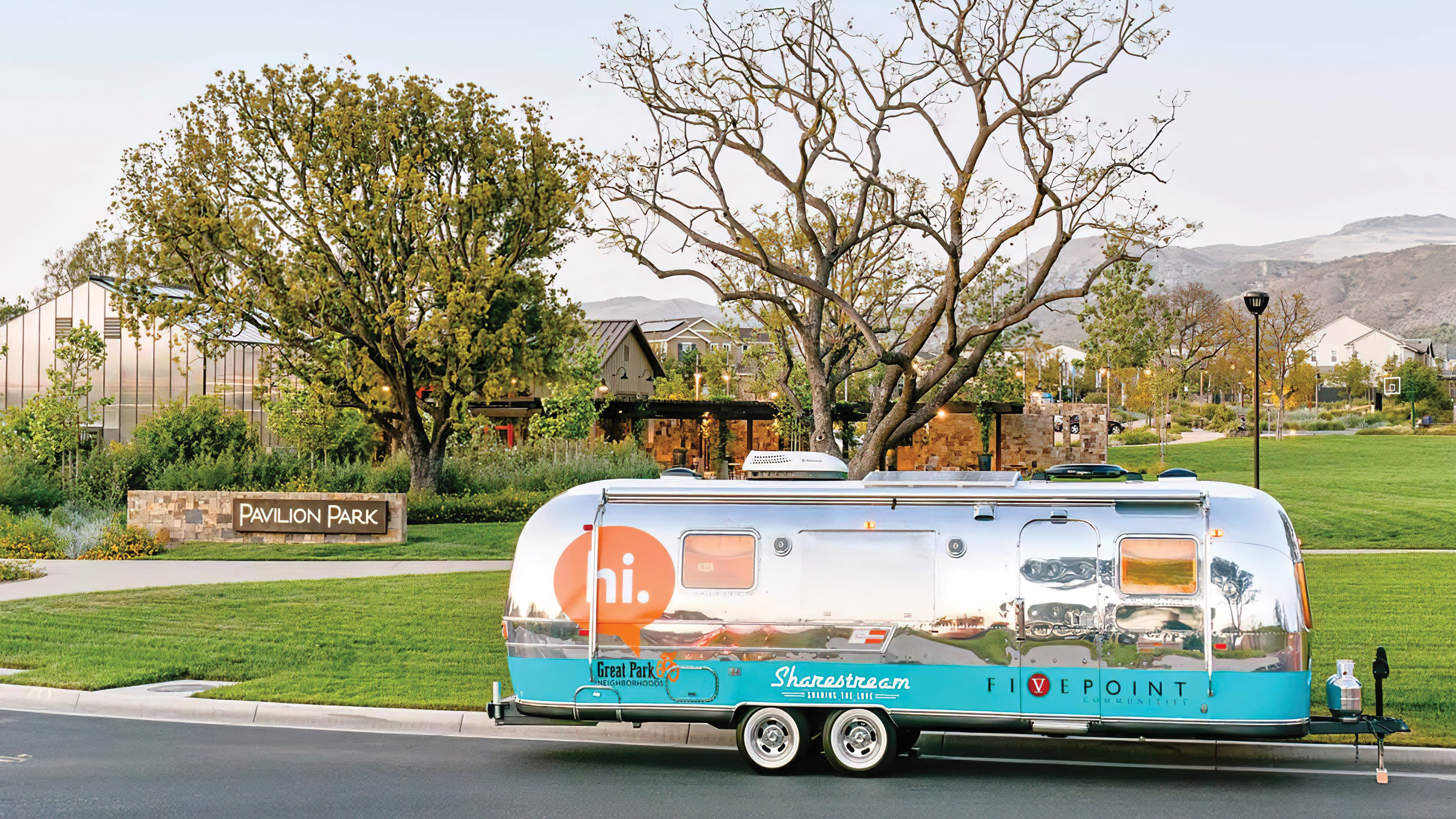Retro Airstream with FivePoint Communities and Great Park Neighborhoods branding decals.