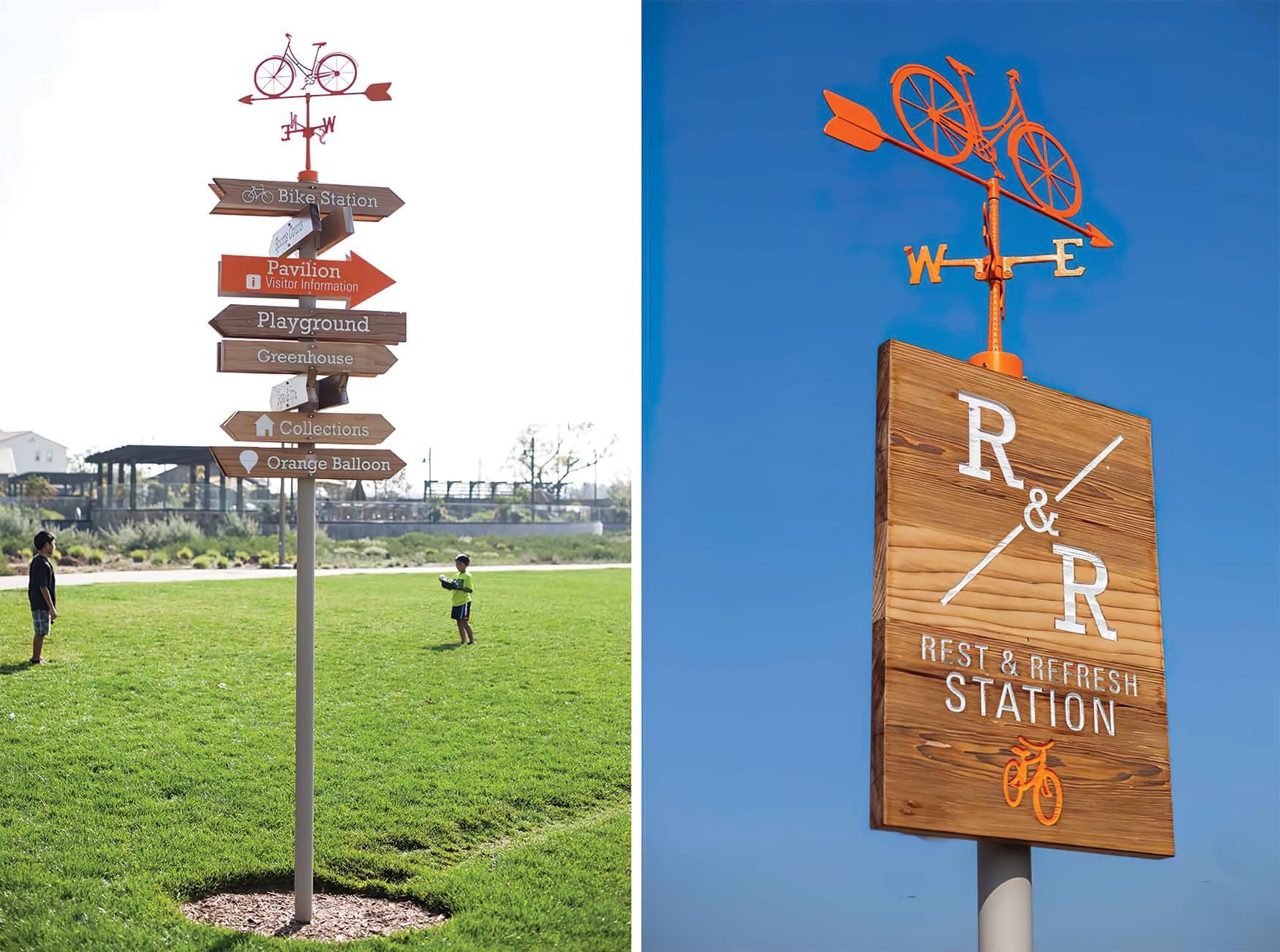 Great Park Neighborhood in Irvine, California. Residential Neighborhood Design and Park Design. Pedestrian Directional Wayfinding Design