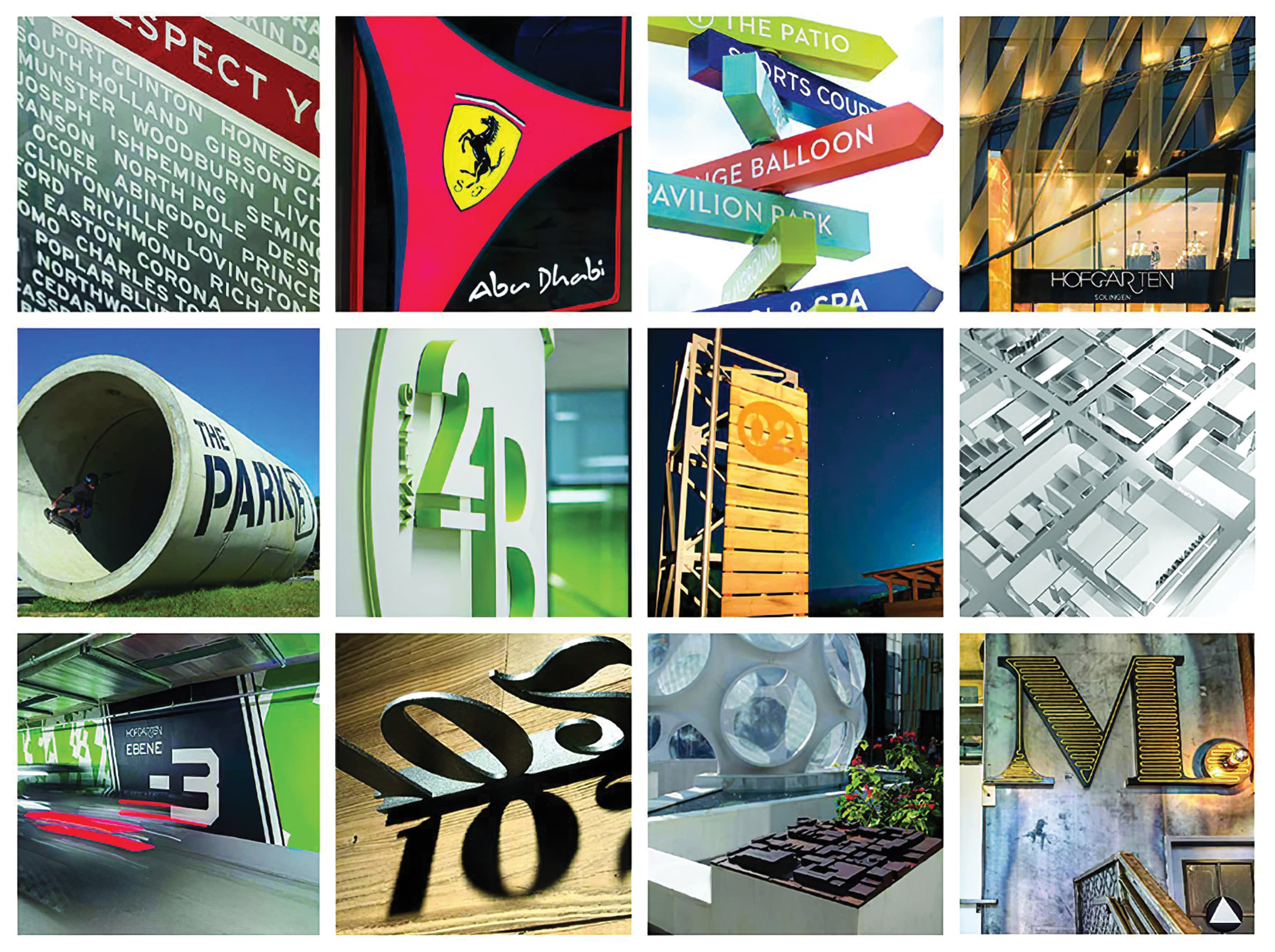 A collection of signage and graphics imagery of completed RSM projects.