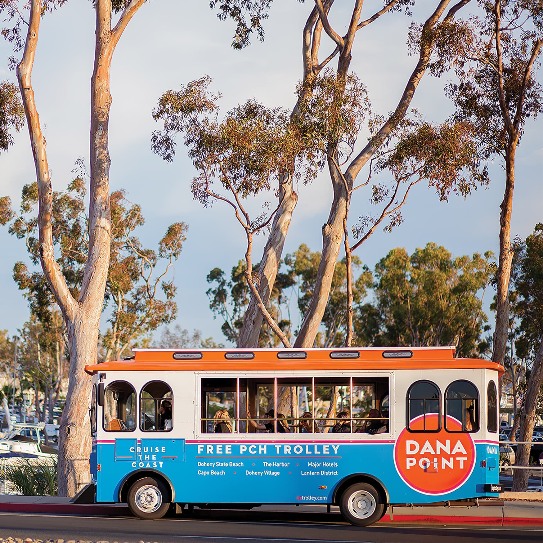 City of Dana Point trolley with decal graphics designed by RSM Design