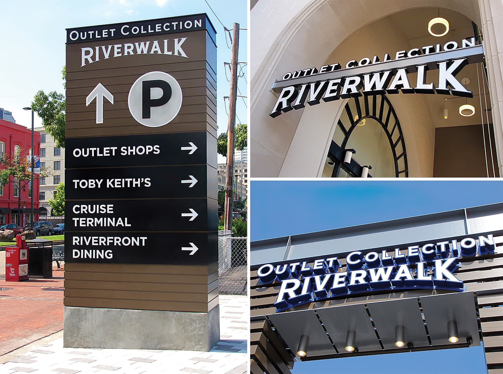 The Outlet Collection at Riverwalk. Identity Signage. Project Signage. Wayfinding Signage.