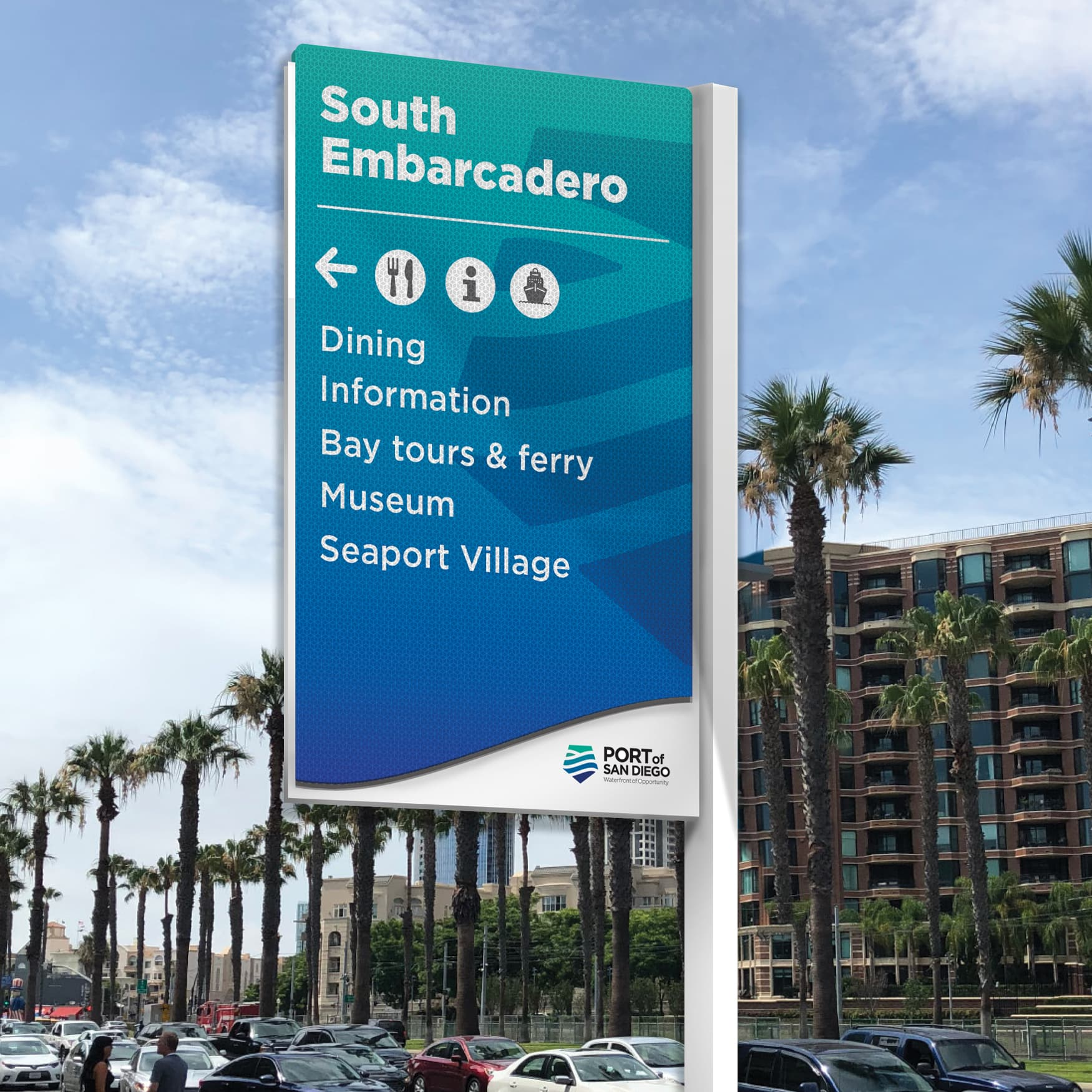 Port of San Diego waterfront pedestrian directional signage