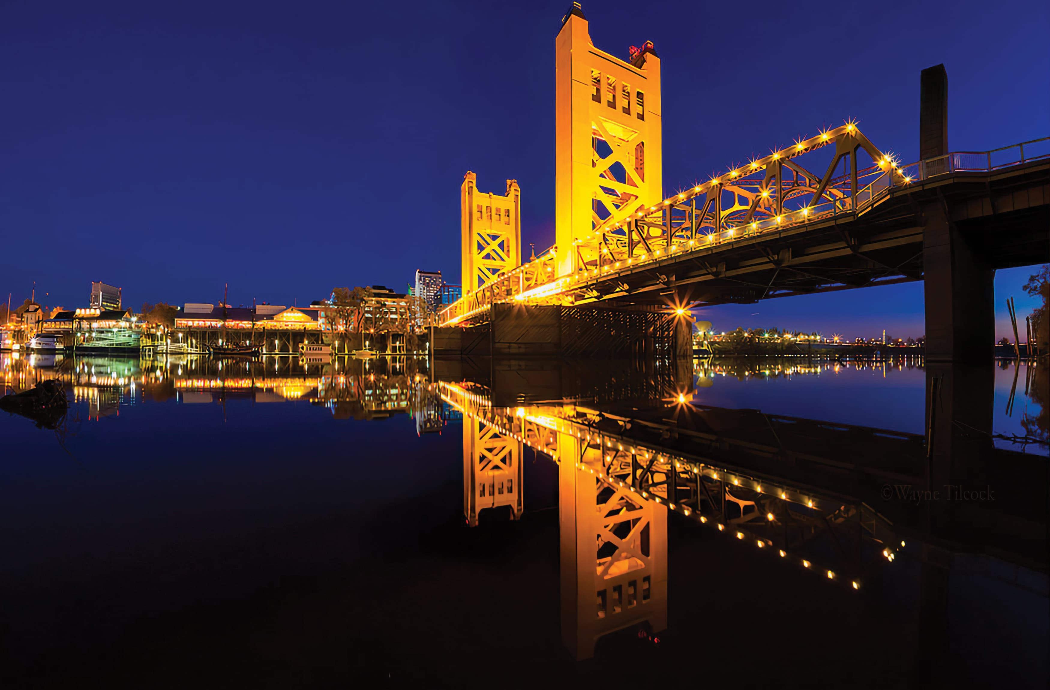 An photograph of the Sacramento Waterfront area at night.
