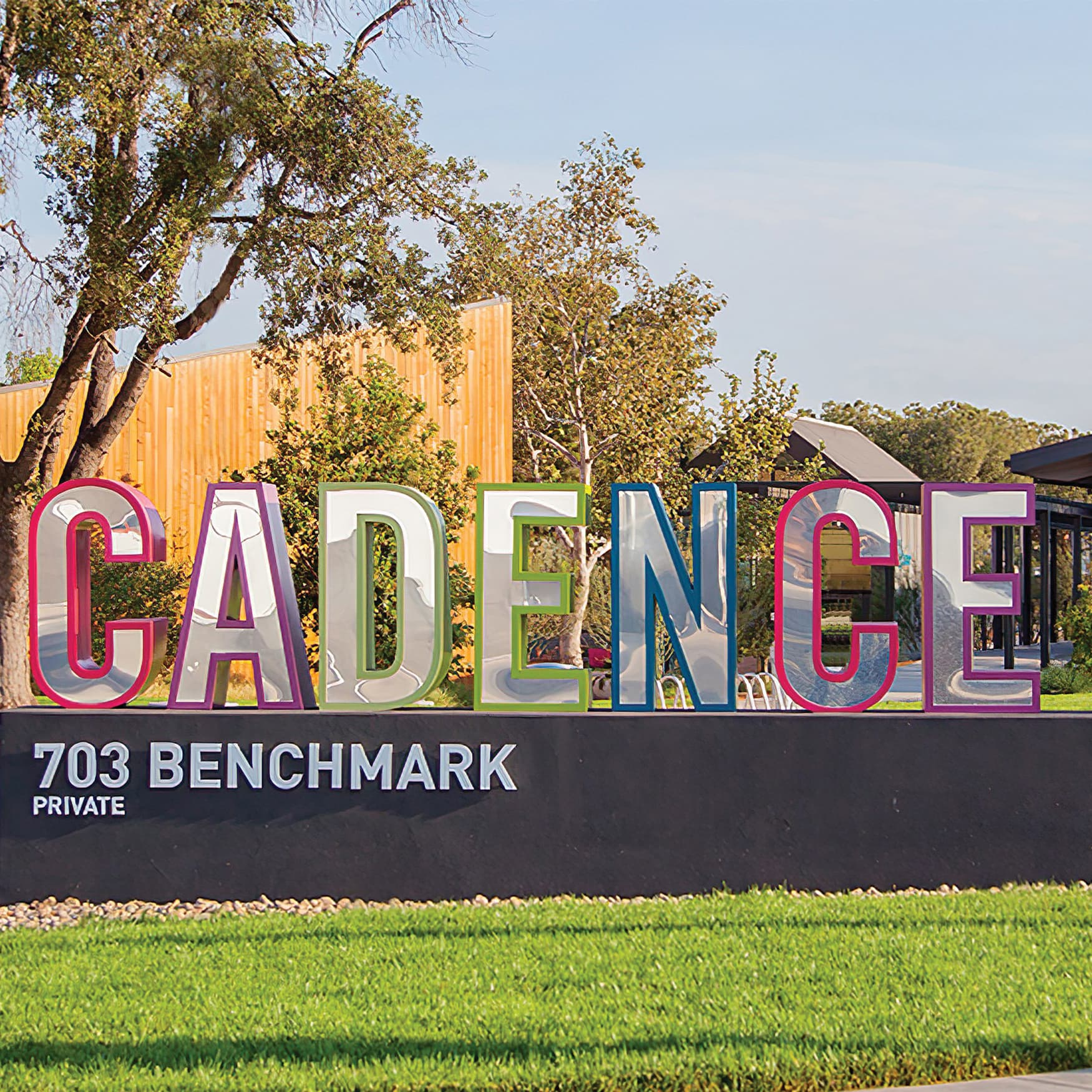 A monument sign at Cadence Park in Irvine, California (RSM Design) marks the entrance of one of many parks within the Great Park Neighborhoods.