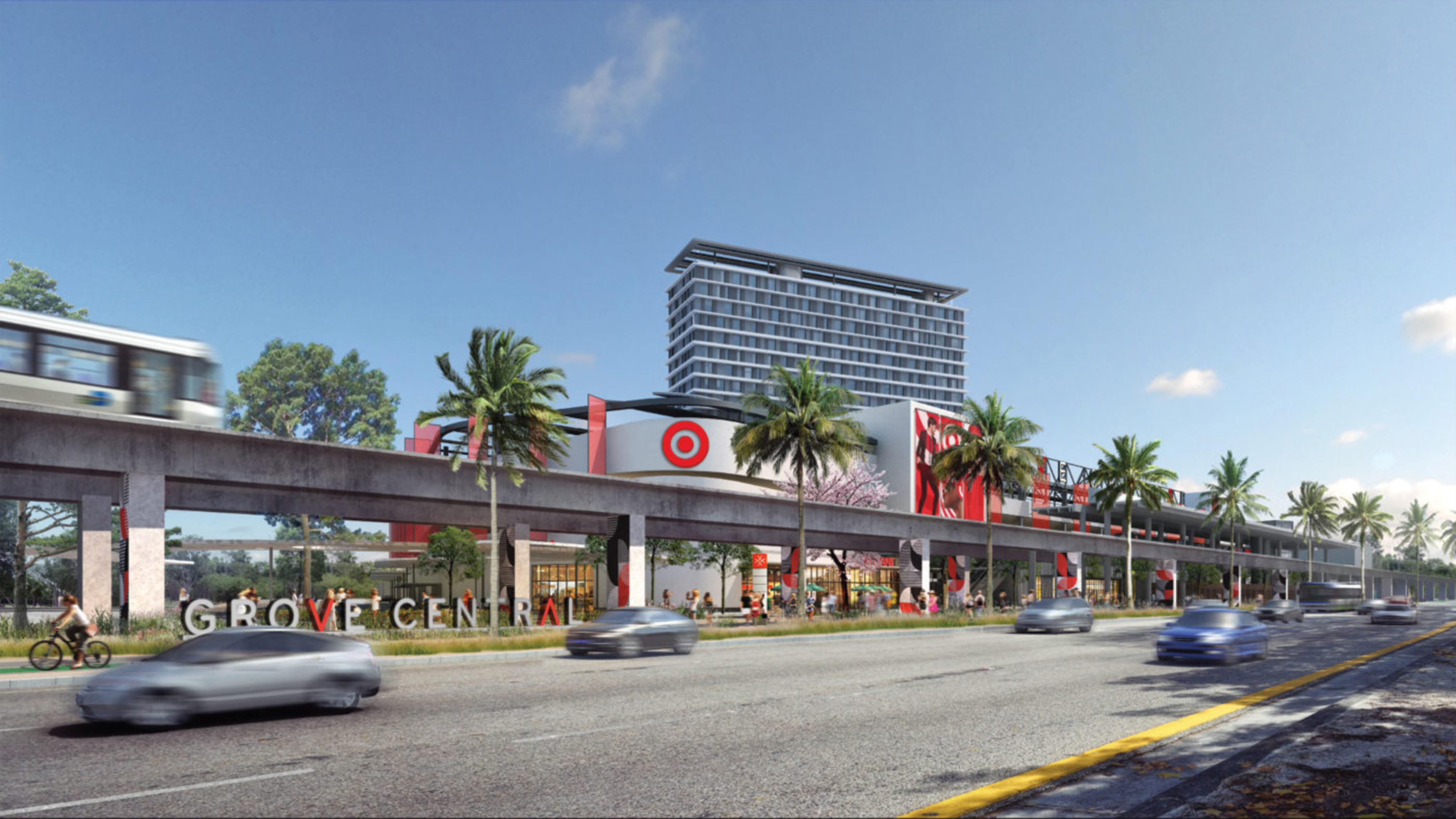 A rendering depicting Grove Central, a mixed-use project located along Miami's new Underline linear park.